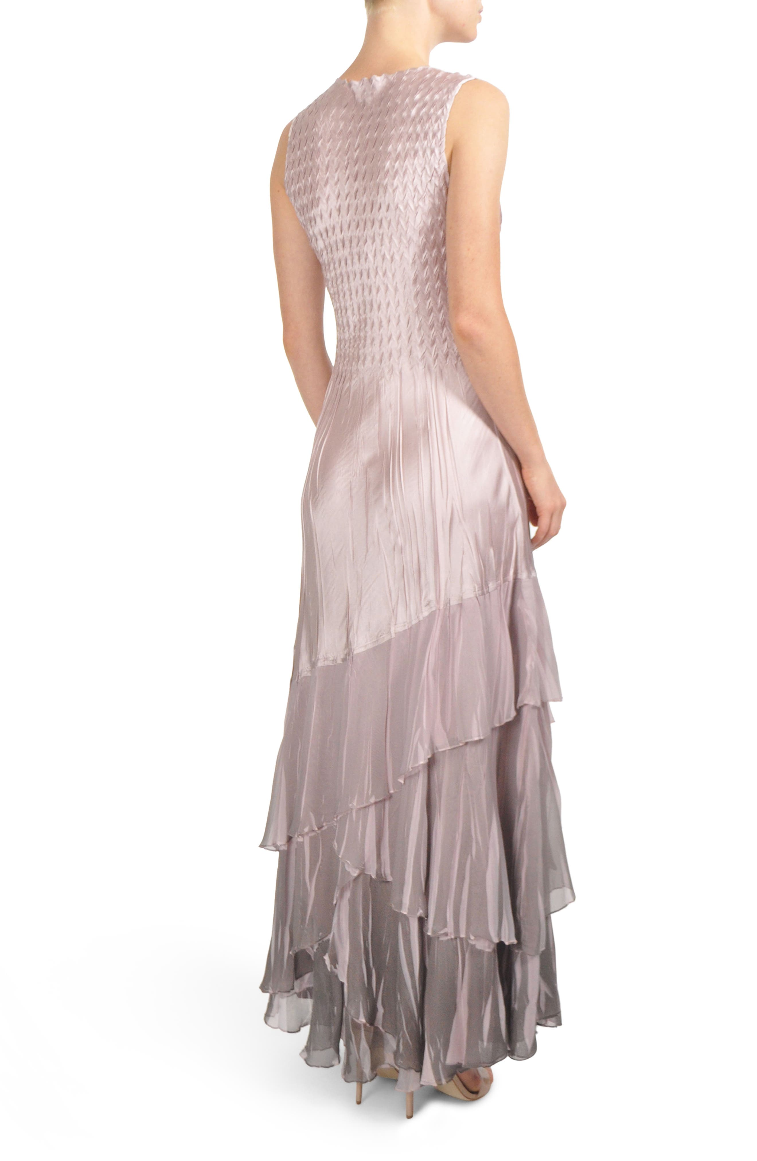 Beaded Charmeuse & Chiffon Gown with Wrap,                             Alternate thumbnail 2, color,                             020
