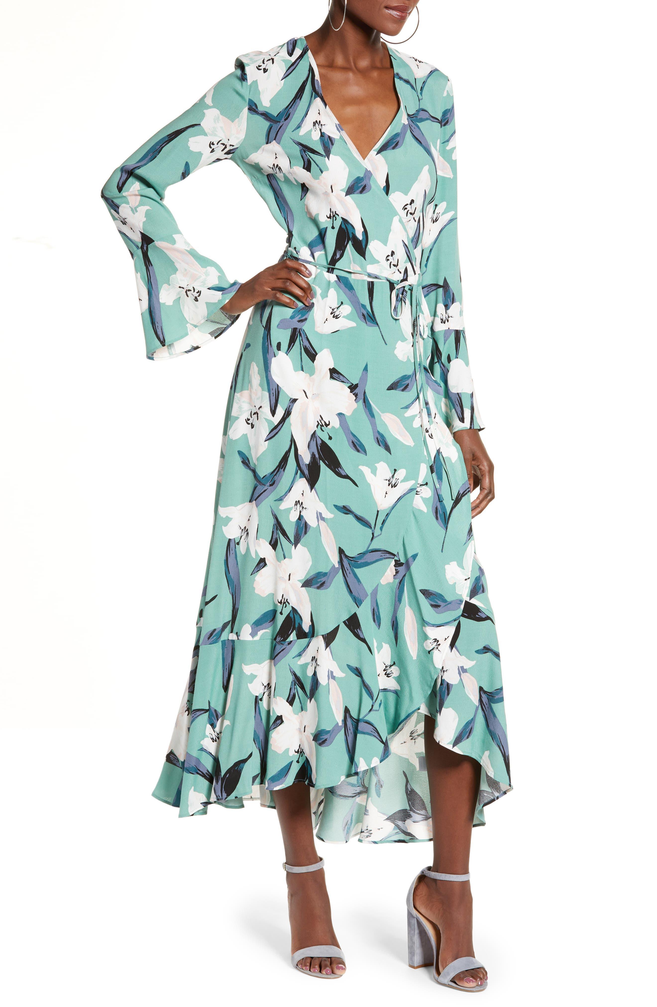 LEITH,                             Bell Sleeve Wrap Midi Dress,                             Main thumbnail 1, color,                             GREEN WING ROMANTIC FLR