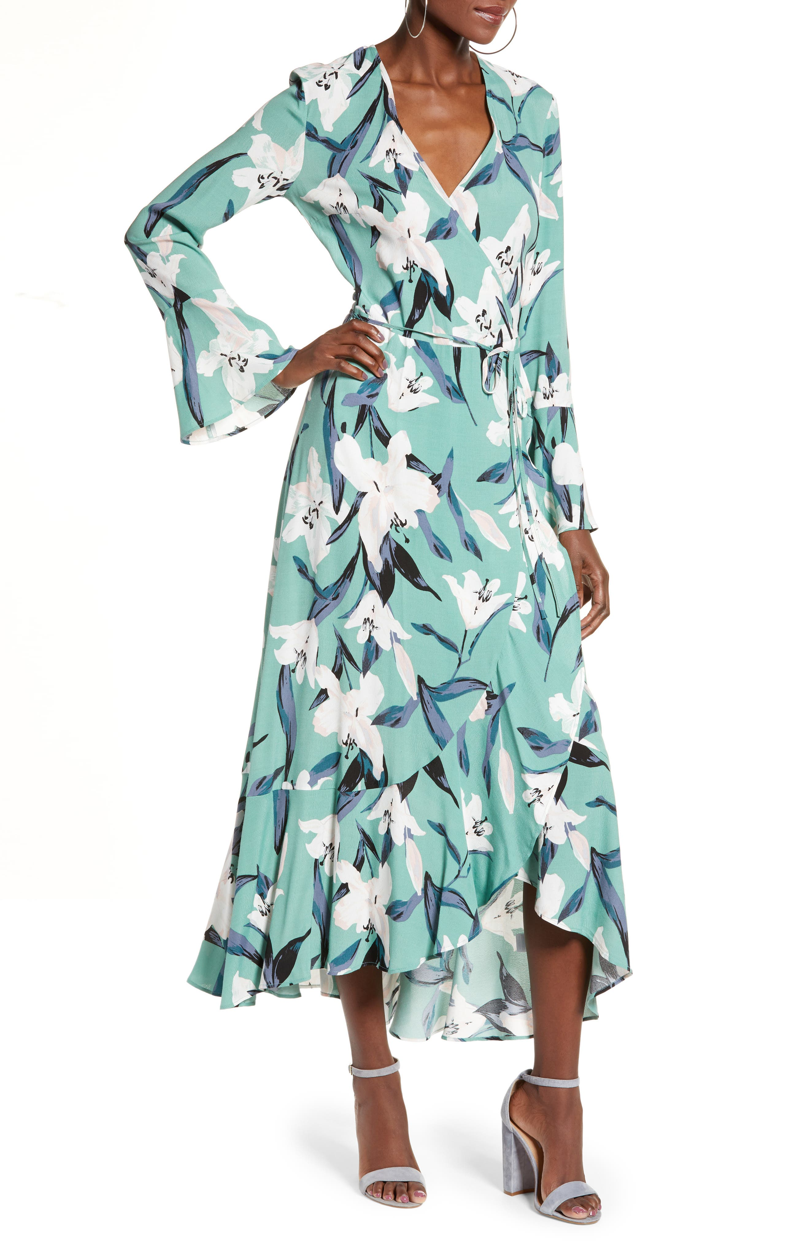 LEITH Bell Sleeve Wrap Midi Dress, Main, color, GREEN WING ROMANTIC FLR