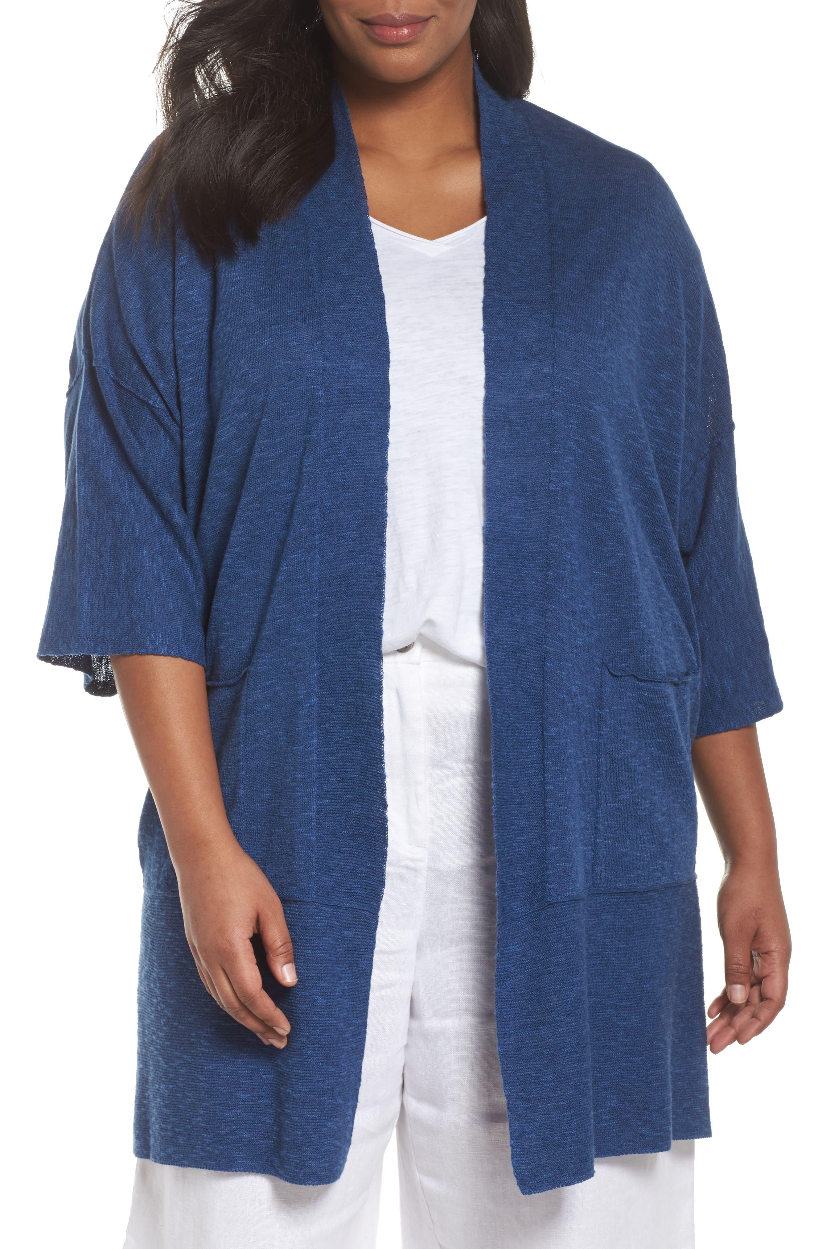 Organic Linen & Cotton Kimono Cardigan,                             Main thumbnail 2, color,