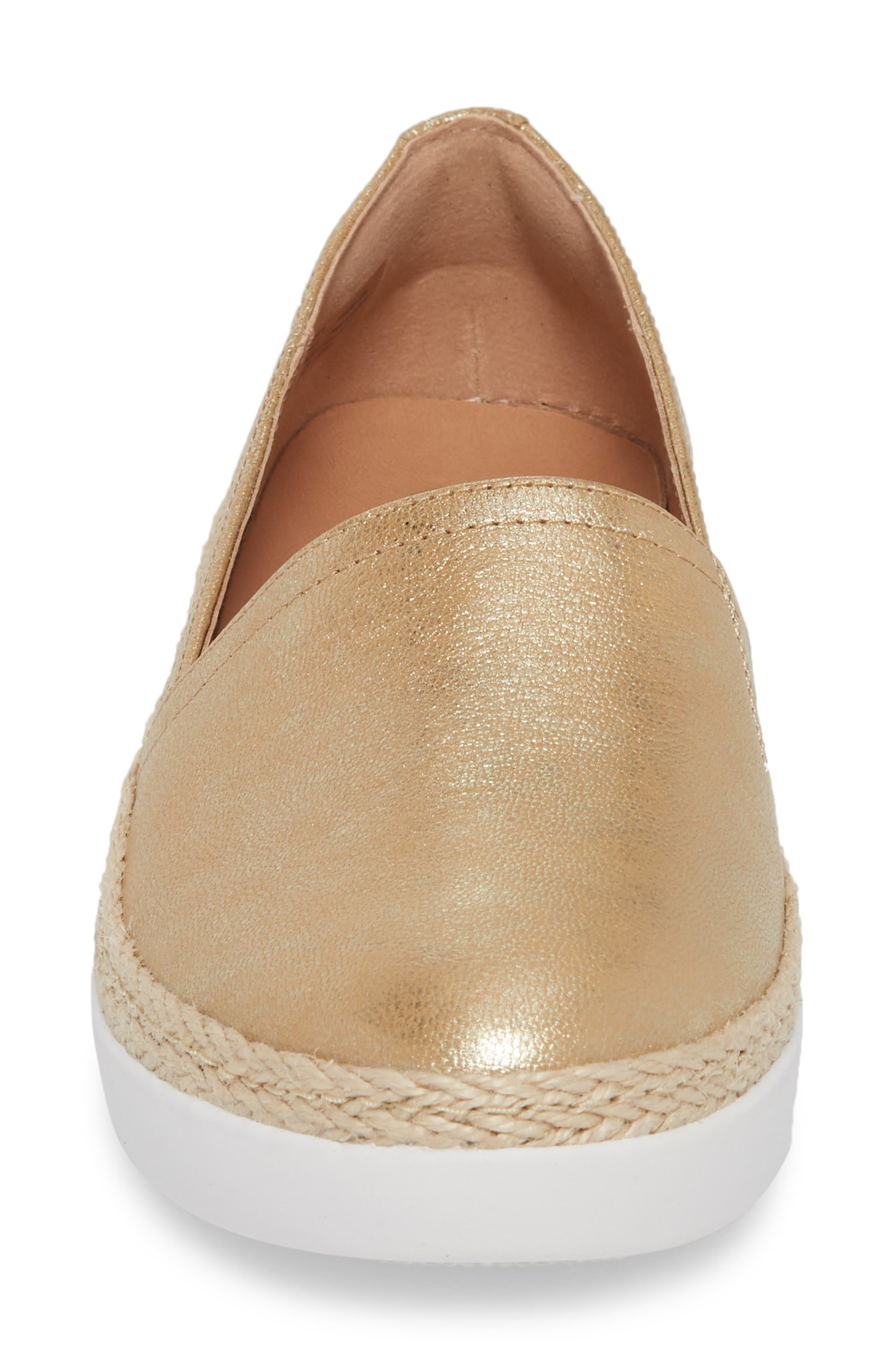 Casa Loafer,                             Alternate thumbnail 4, color,                             METALLIC GOLD LEATHER