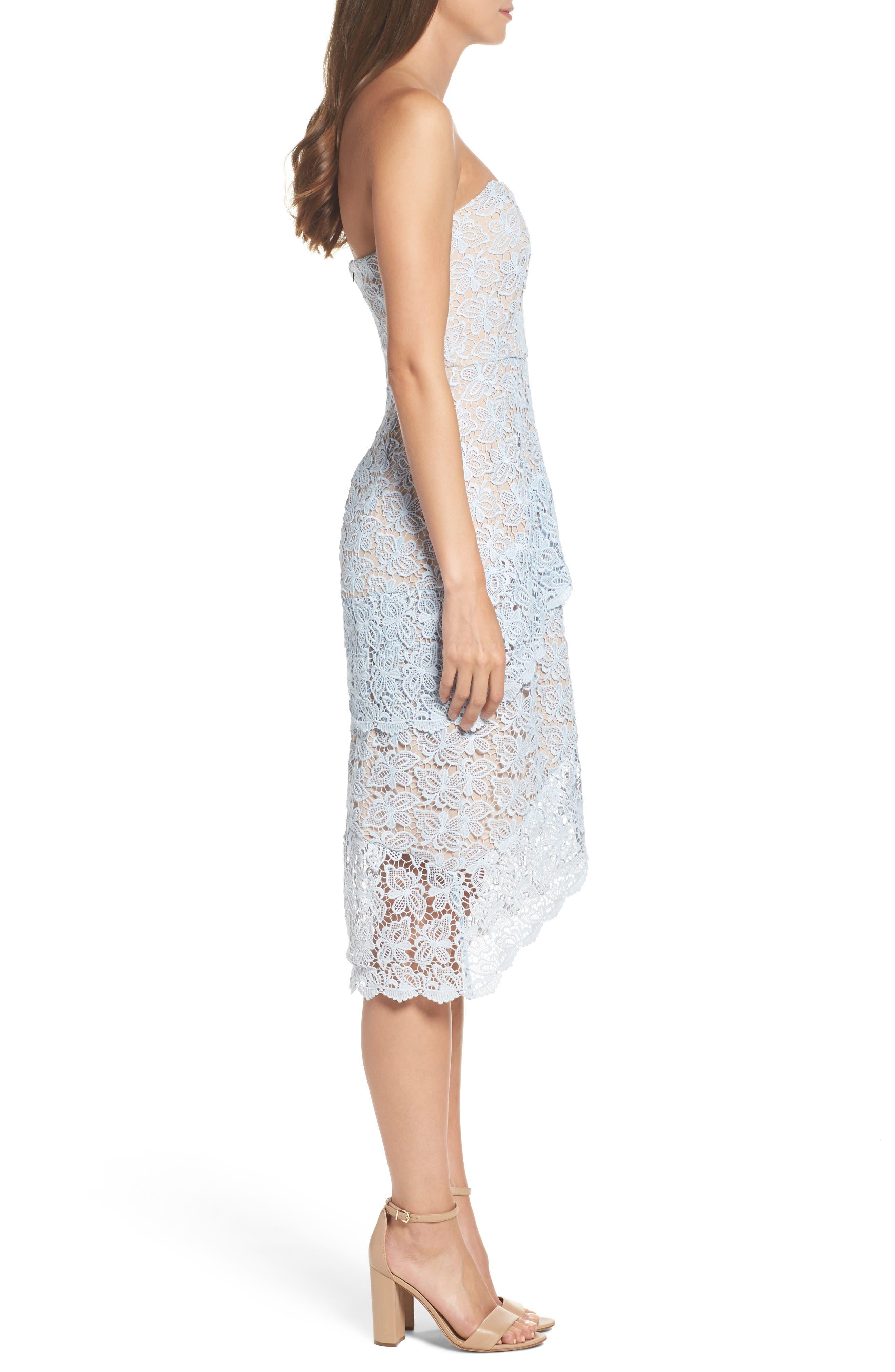 Taha Tiered Lace Midi Dress,                             Alternate thumbnail 3, color,                             452