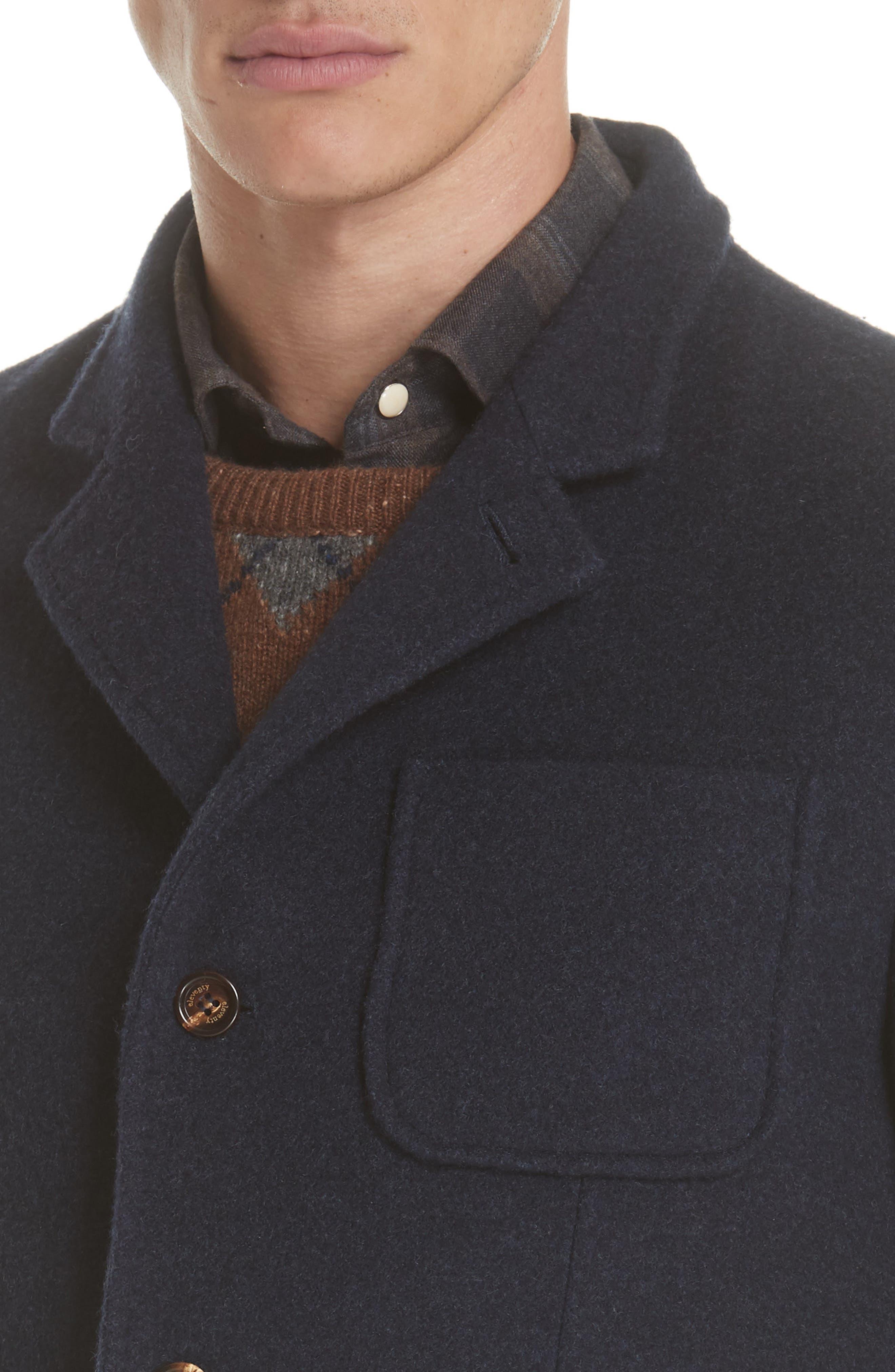 Wool & Cashmere Coat,                             Alternate thumbnail 4, color,                             NAVY