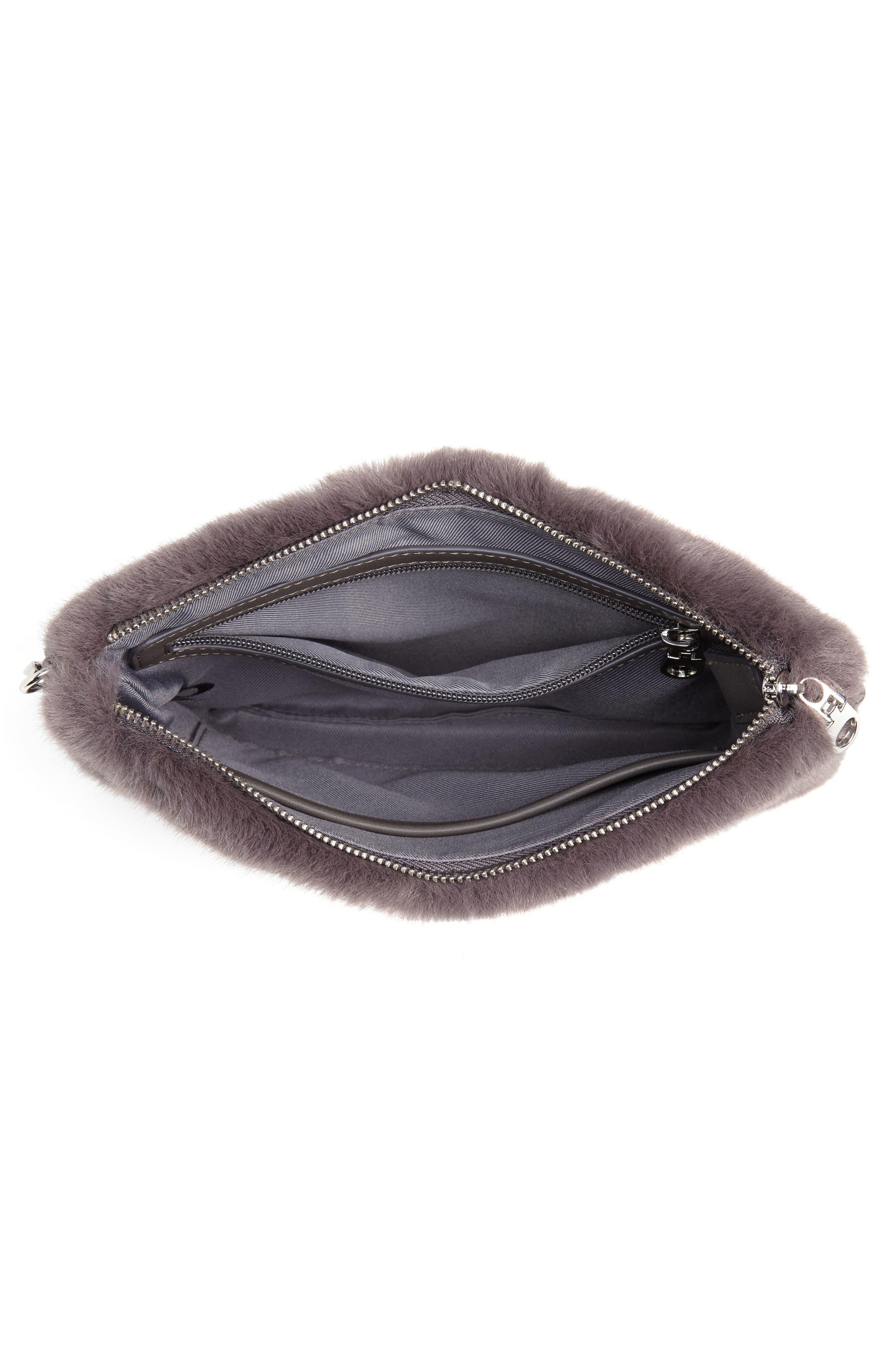 Astley Faux Fur Convertible Clutch,                             Alternate thumbnail 5, color,                             GREY CASTLEROCK