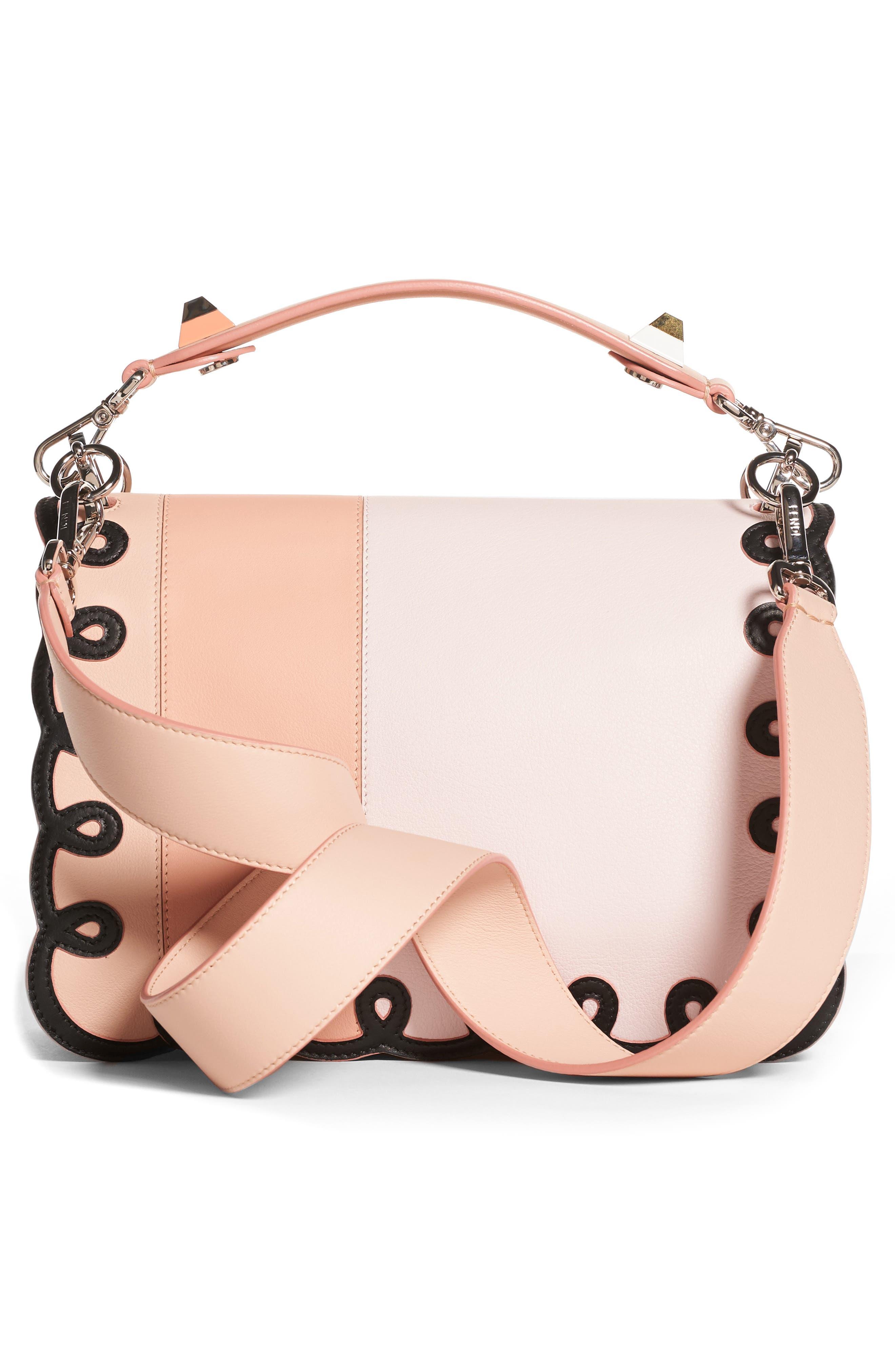 Kan I Scalloped Stripe Leather Shoulder Bag,                             Alternate thumbnail 2, color,                             PLASTER PINK