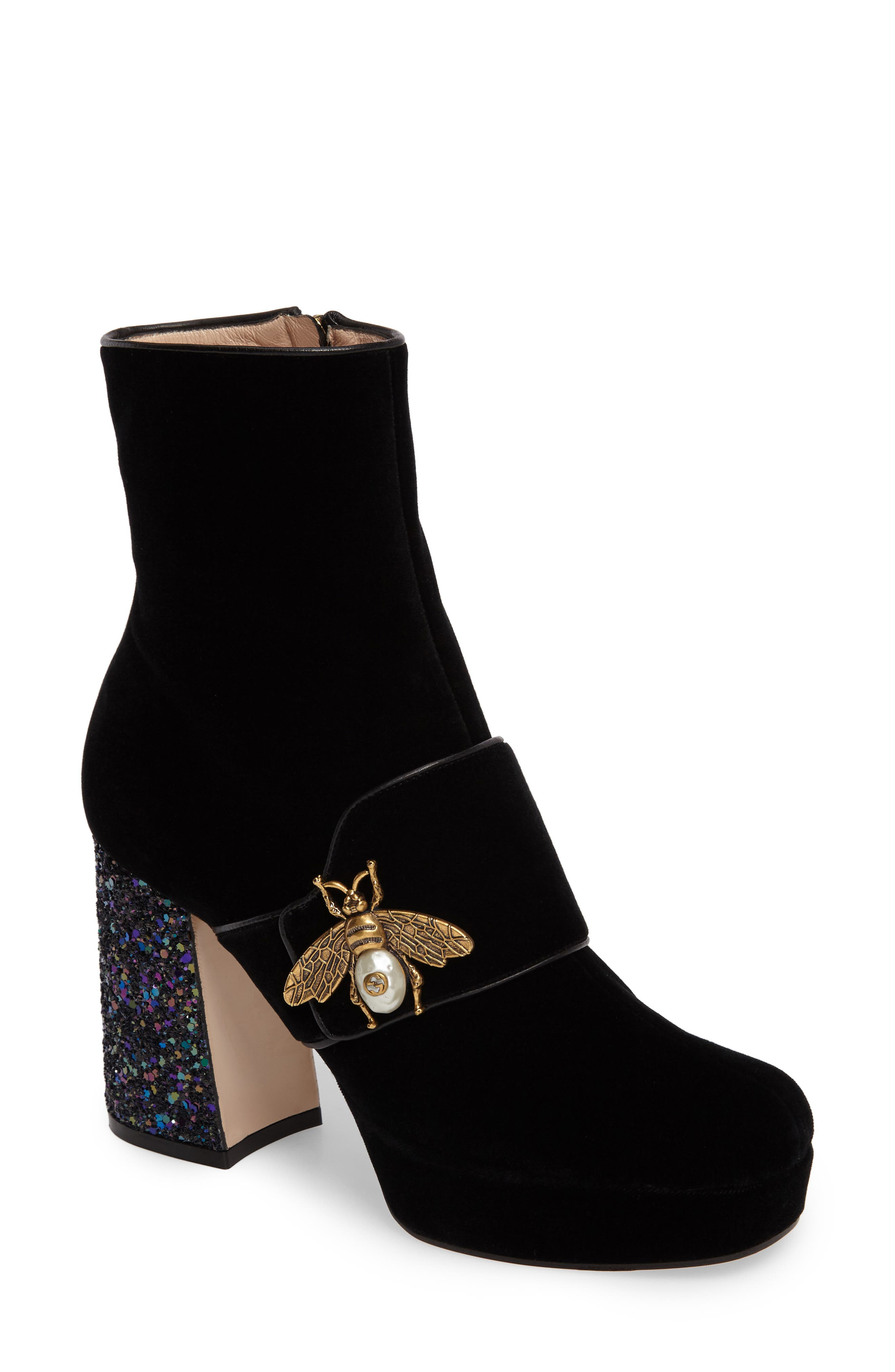 Soko Glitter Bee Bootie,                             Main thumbnail 1, color,                             001
