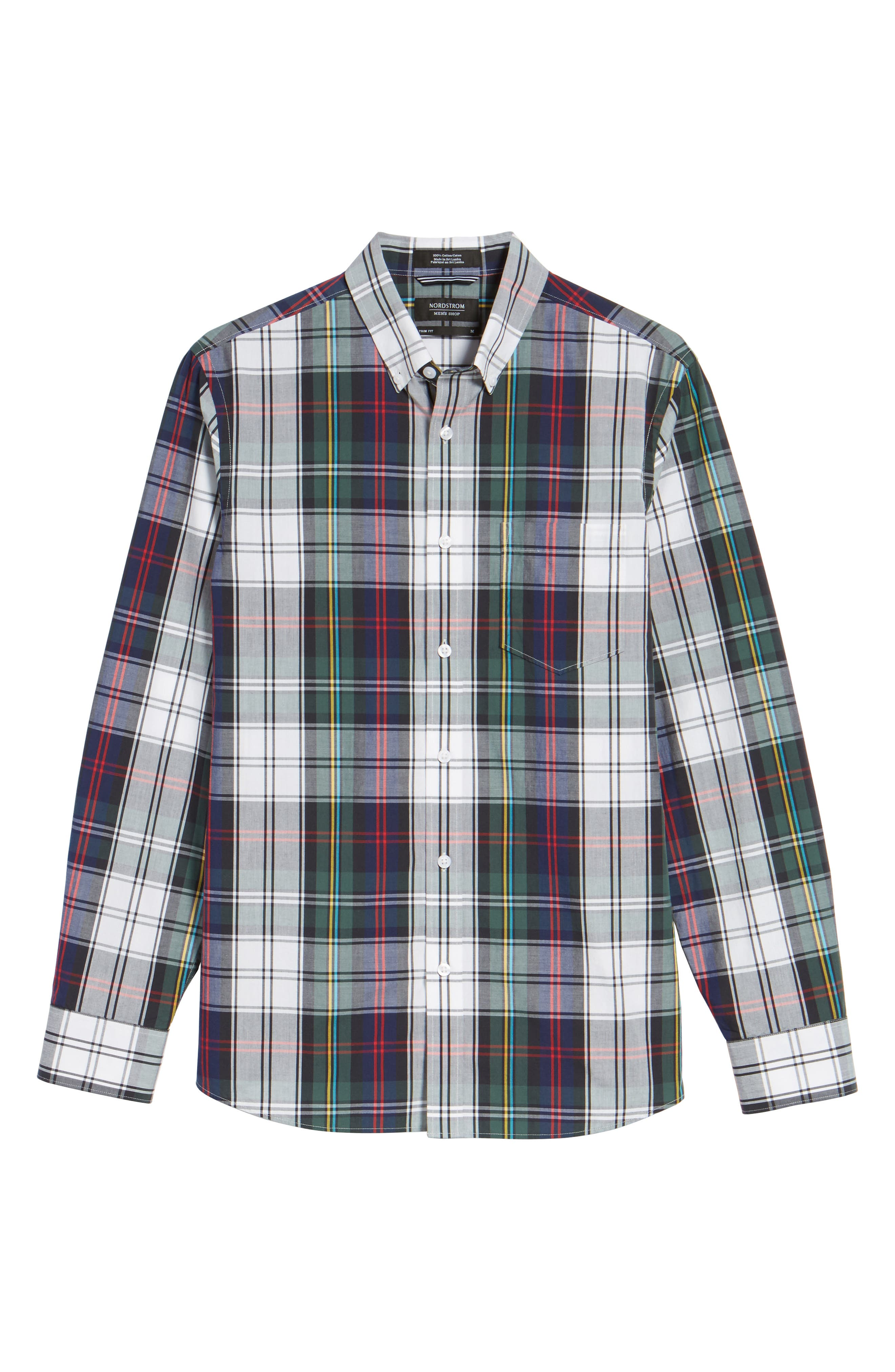 Slim Fit Plaid Sport Shirt,                             Alternate thumbnail 6, color,                             401