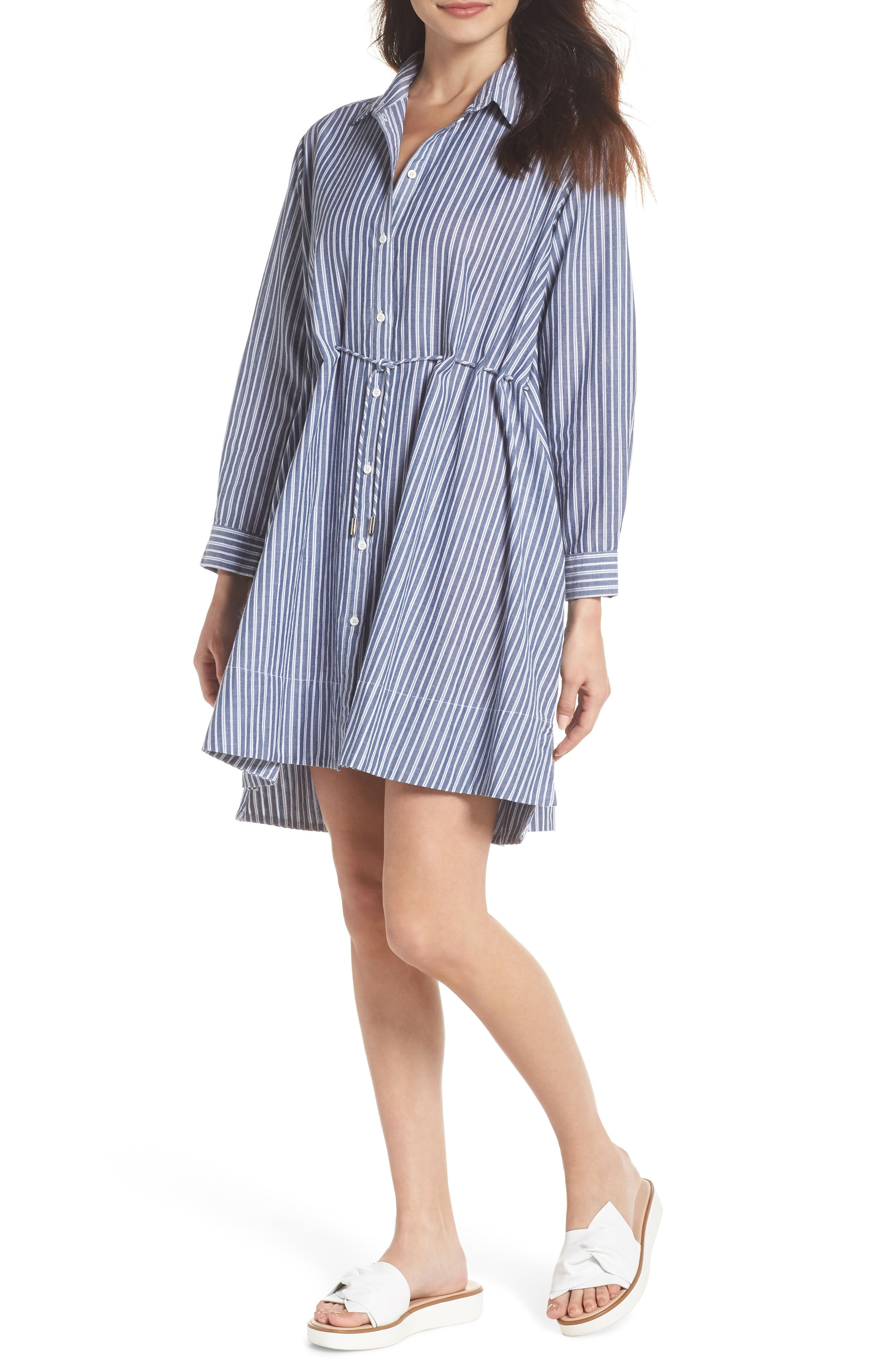 Tatus Stripe Drawstring Cotton Shirtdress, Main, color, 452