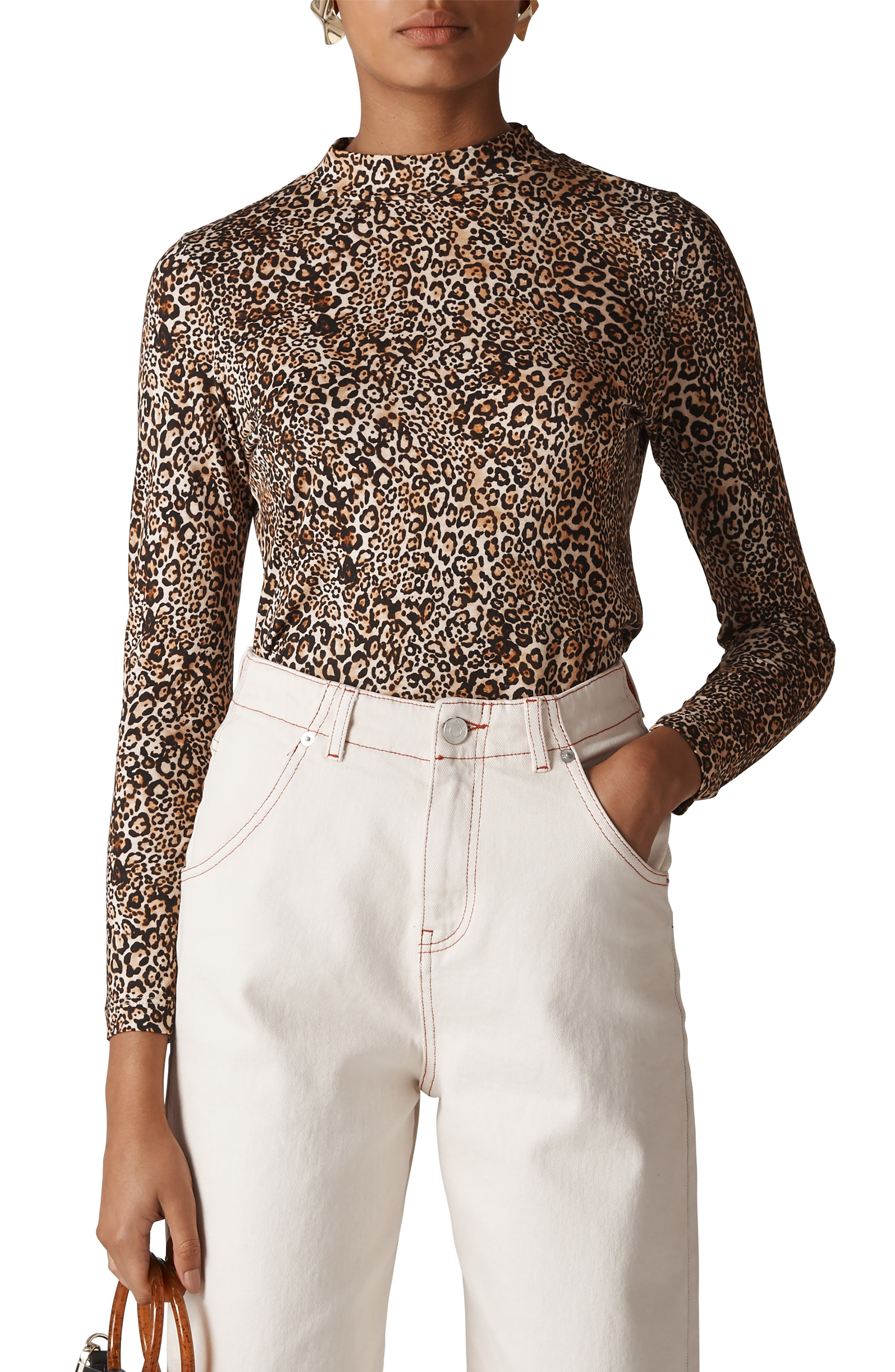 WHISTLES Leopard Print Essential Top