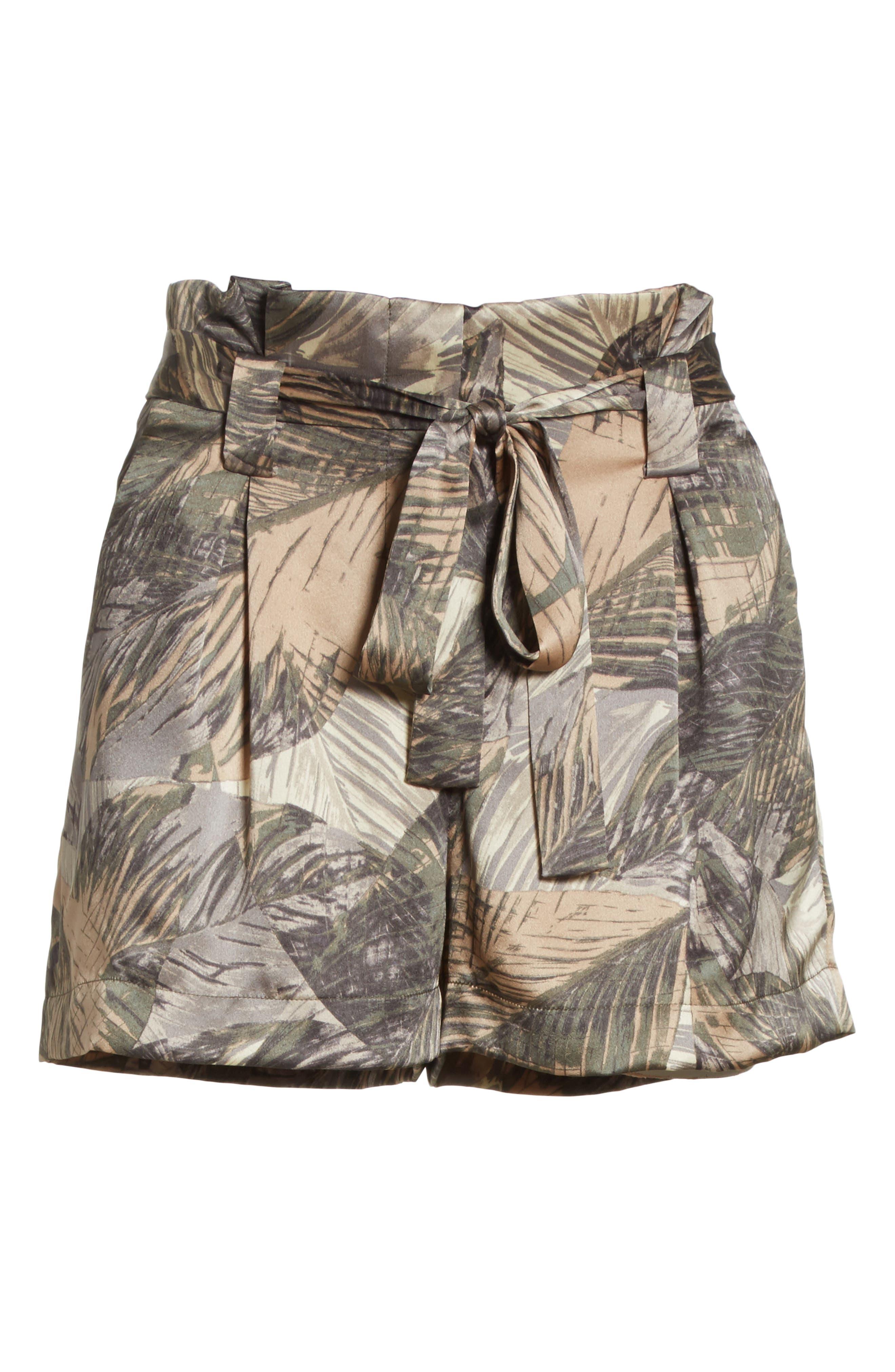 Alex Palm Print Silk Paperbag Shorts,                             Alternate thumbnail 6, color,