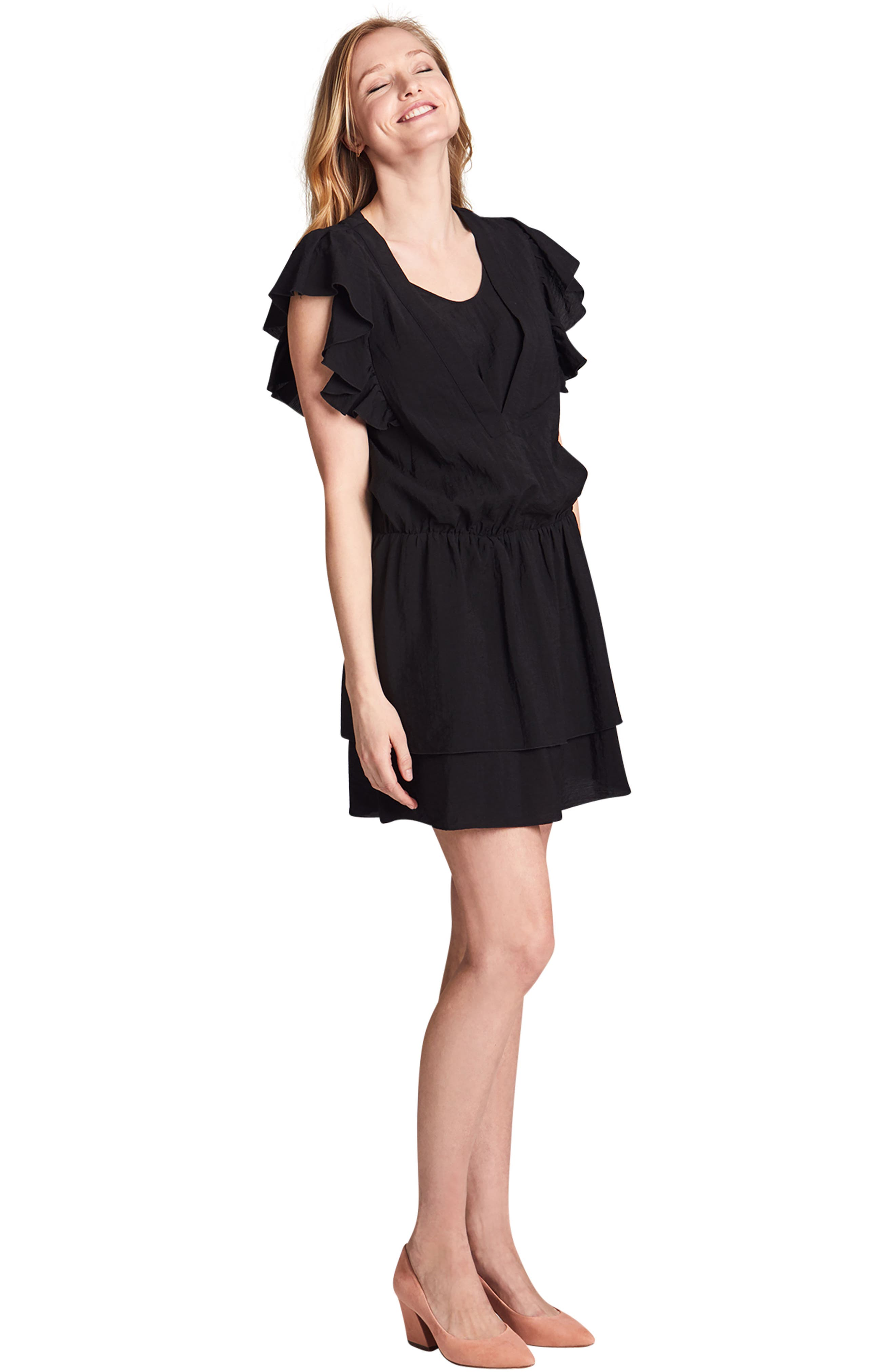 Naomi Nursing Dress,                             Alternate thumbnail 4, color,                             BLACK