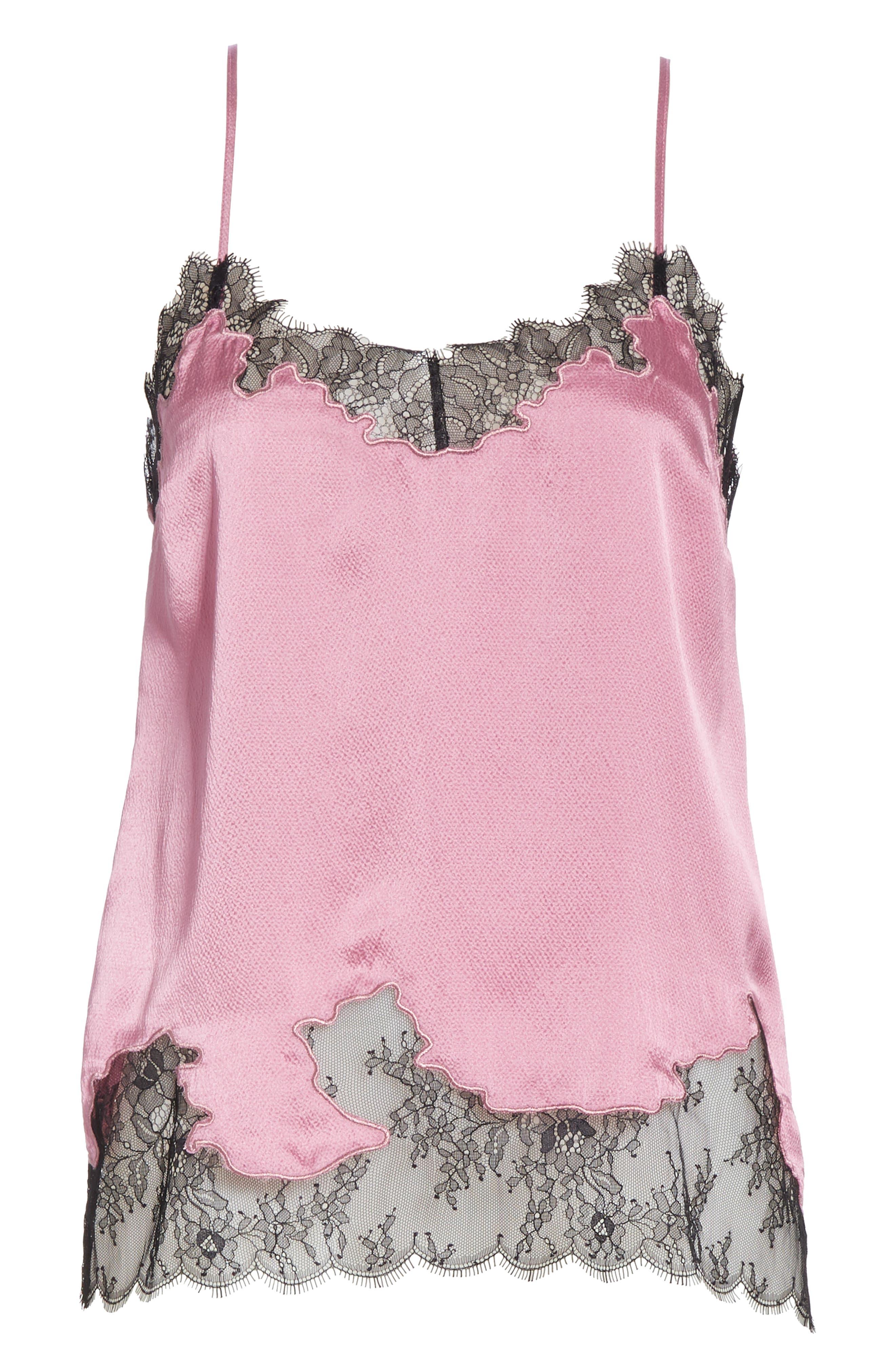 Lace Trim Silk Camisole,                             Alternate thumbnail 5, color,                             VINTAGE ROSE