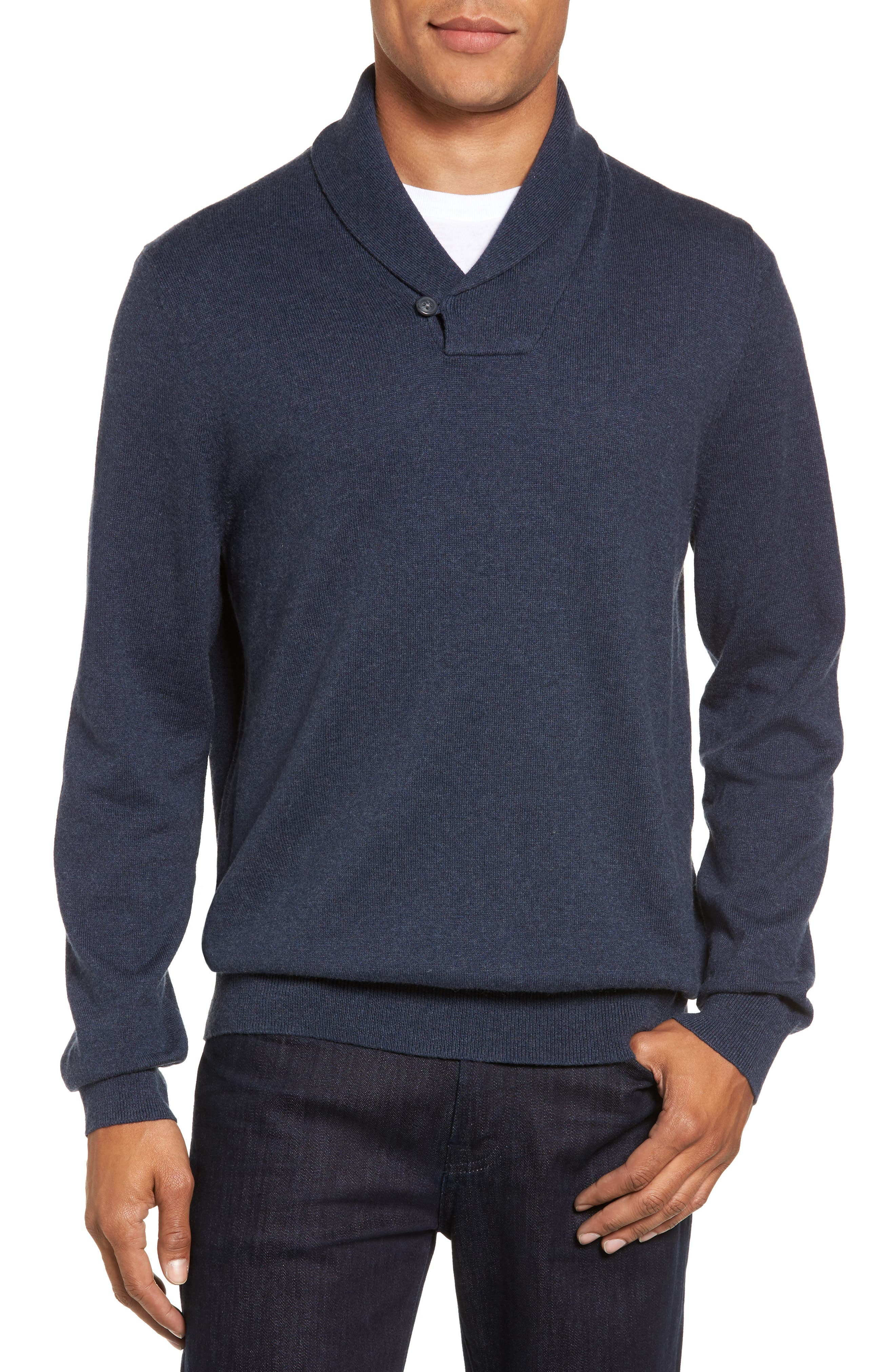 Nordstrom Shop Cotton & Cashmere Shawl Collar Sweater
