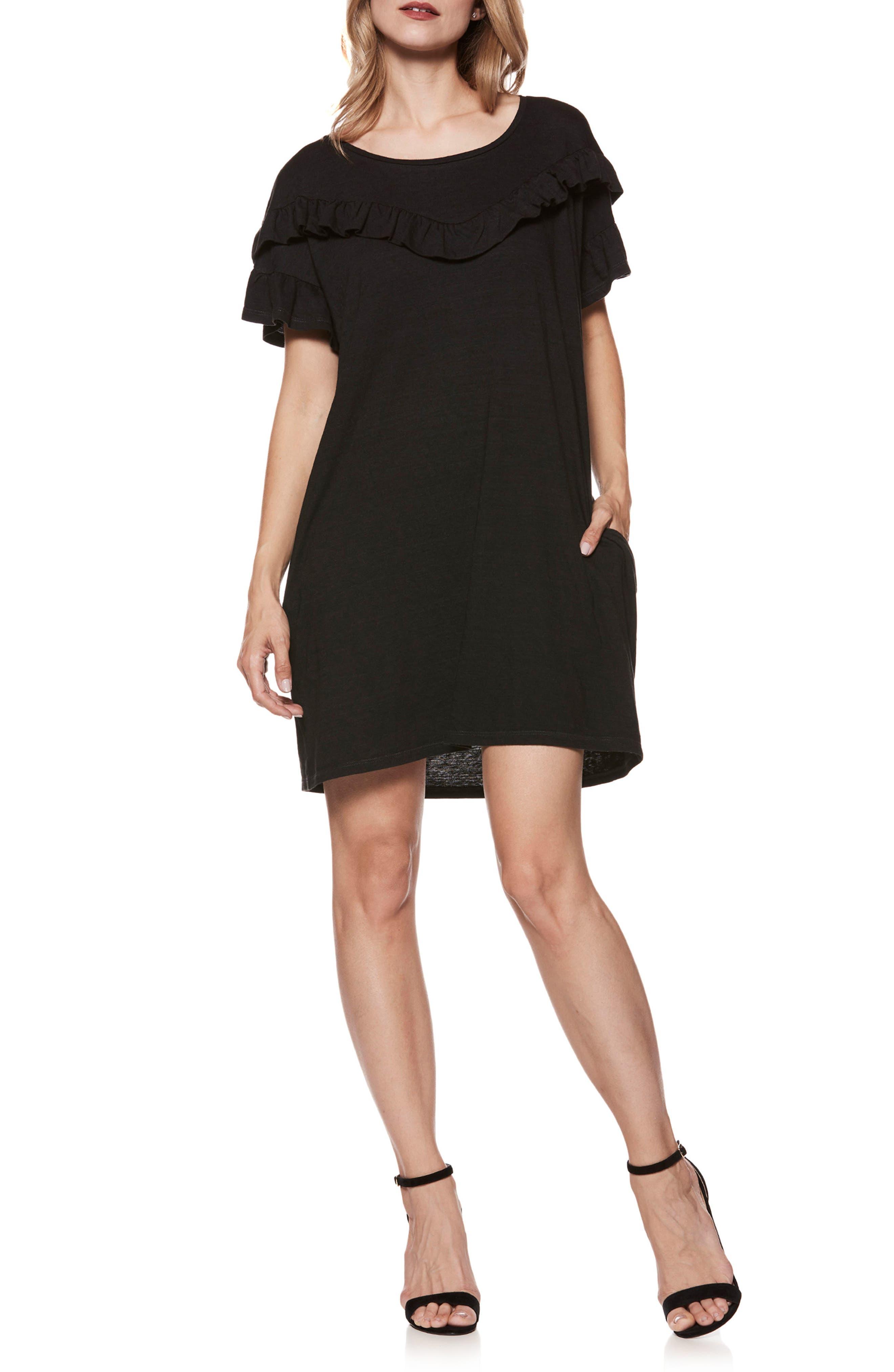 Adalie Ruffle T-Shirt Dress,                             Main thumbnail 1, color,                             001