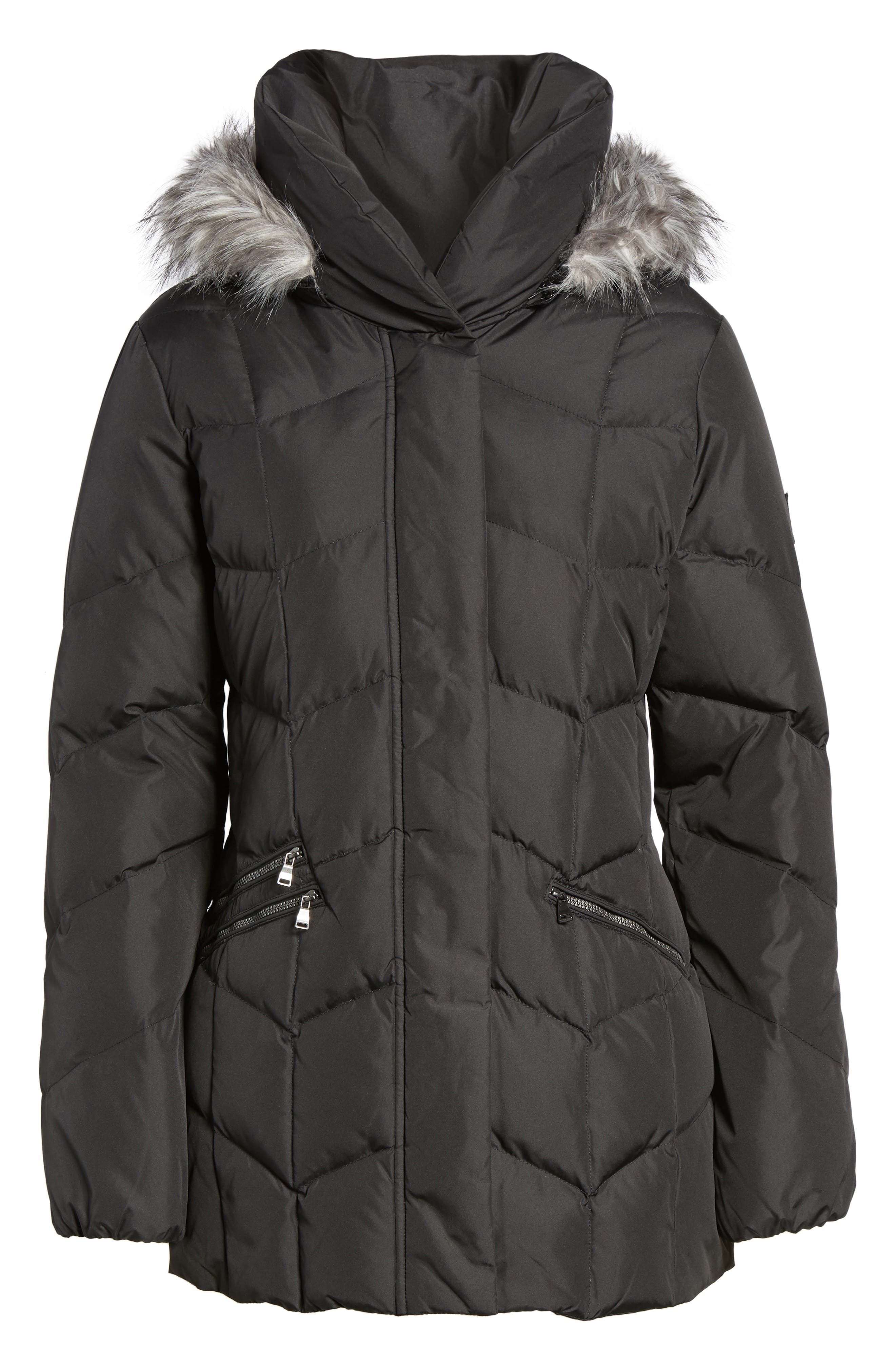 Quilted Coat with Faux Fur Trim,                             Alternate thumbnail 5, color,                             001