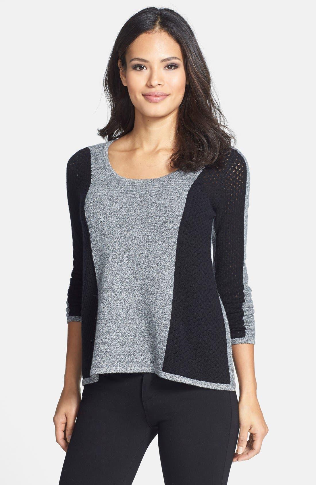 Colorblock Pointelle Cashmere Sweater,                             Main thumbnail 1, color,                             021