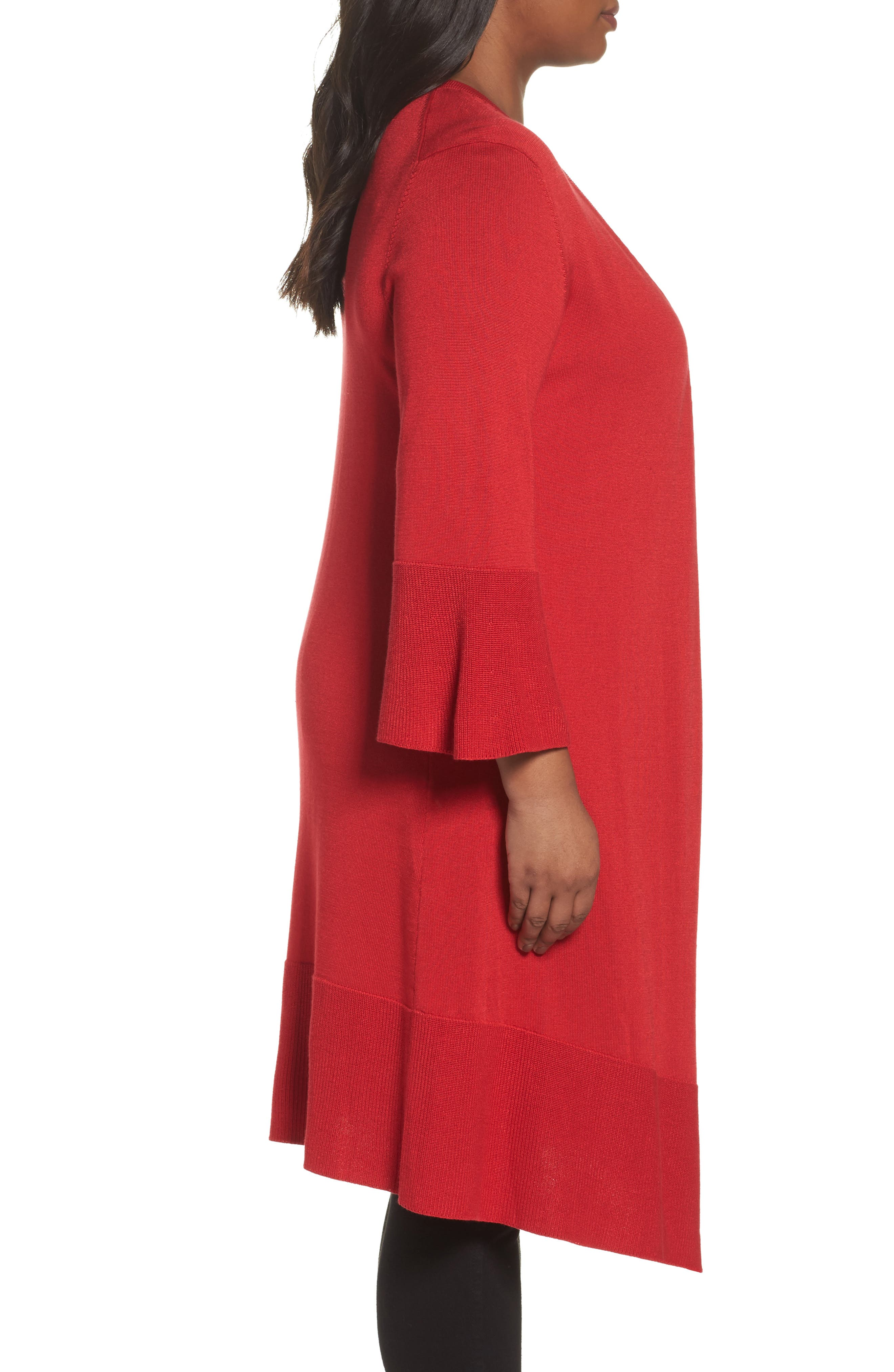 Mila Bell Sleeve Long Cardigan,                             Alternate thumbnail 3, color,                             SCARLET