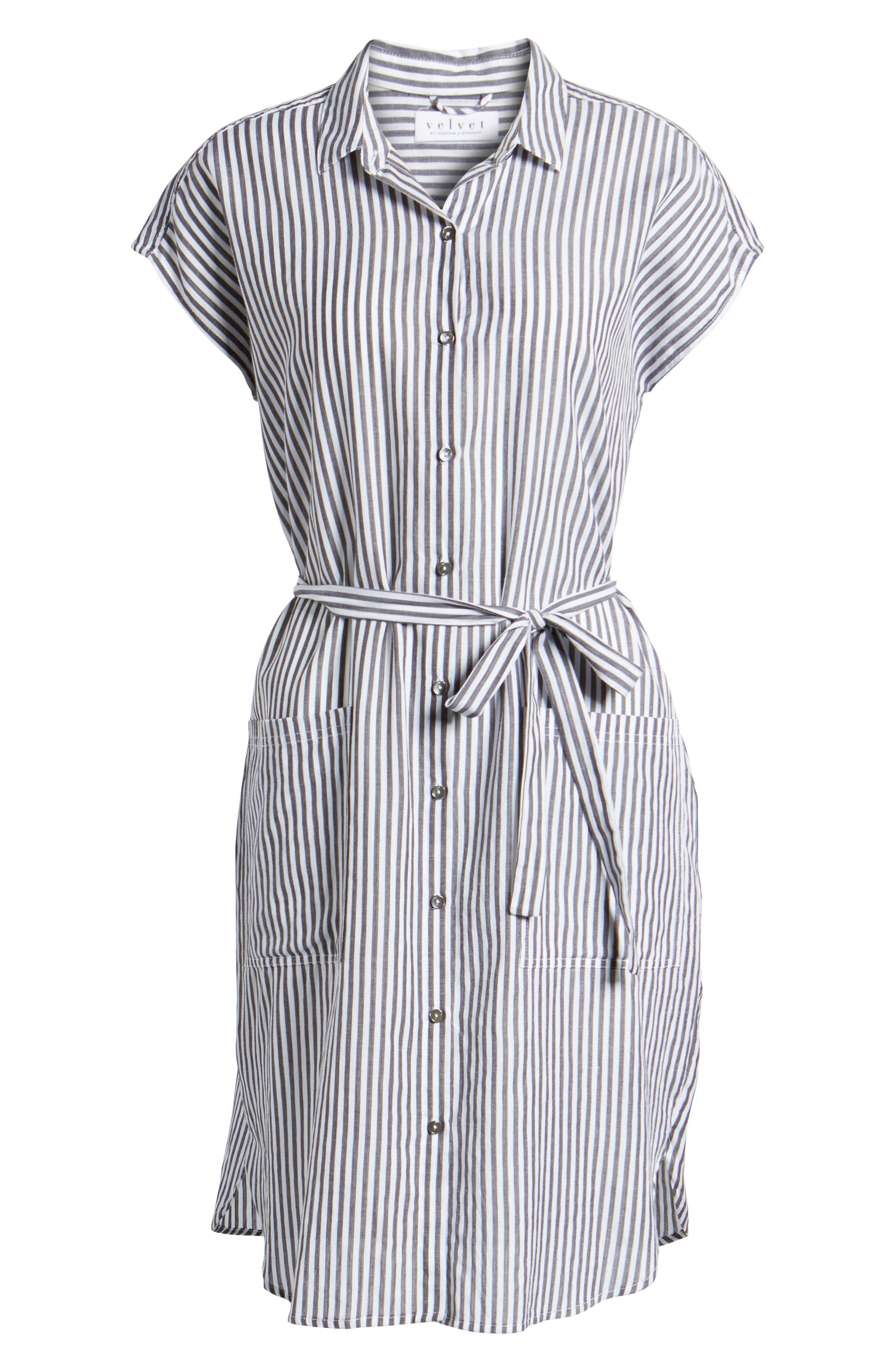 Stripe Belted Cotton Shirtdress,                             Alternate thumbnail 6, color,                             024