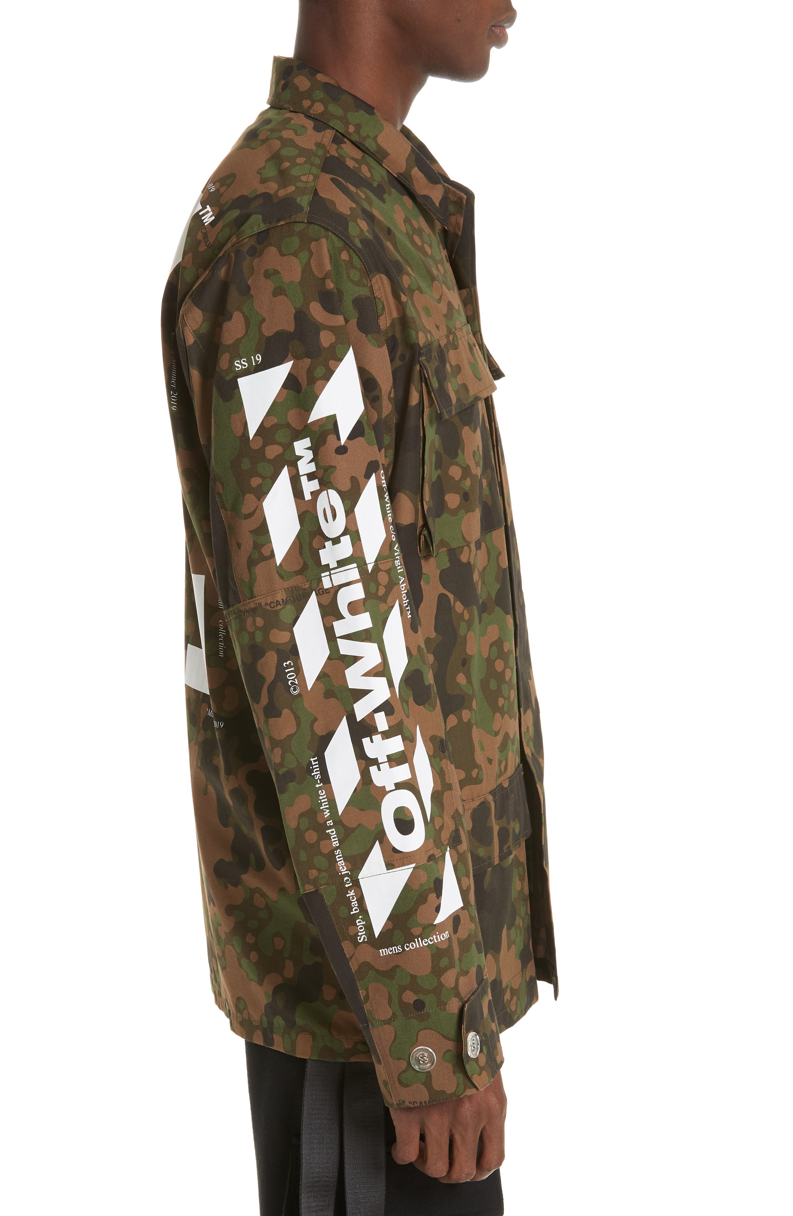 OFF-WHITE,                             Camo Field Jacket,                             Alternate thumbnail 3, color,                             CAMOU WHITE
