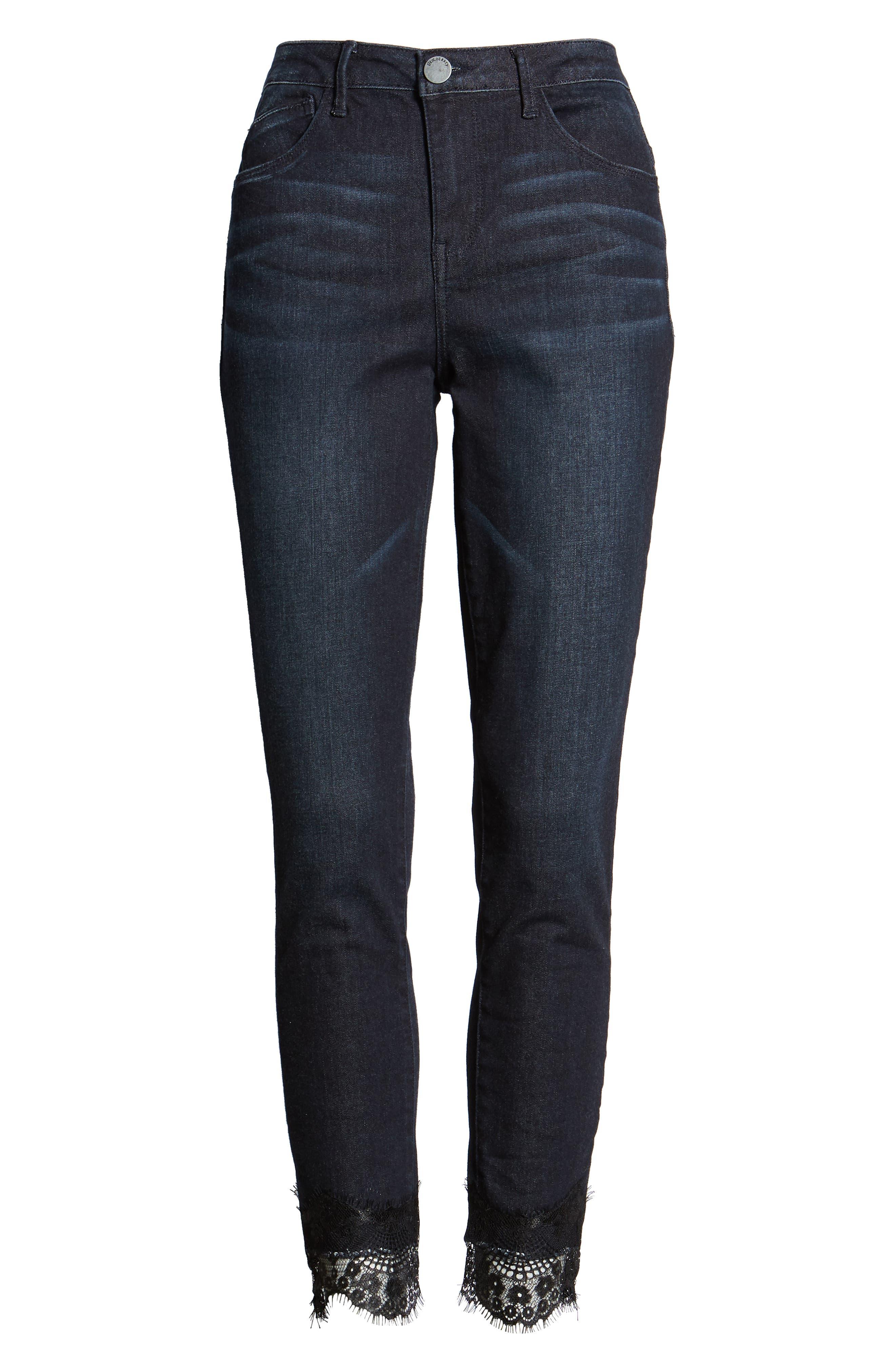 WIT & WISDOM,                             High Waist Eyelash Lace Ankle Skimmer Jeans,                             Alternate thumbnail 7, color,                             402