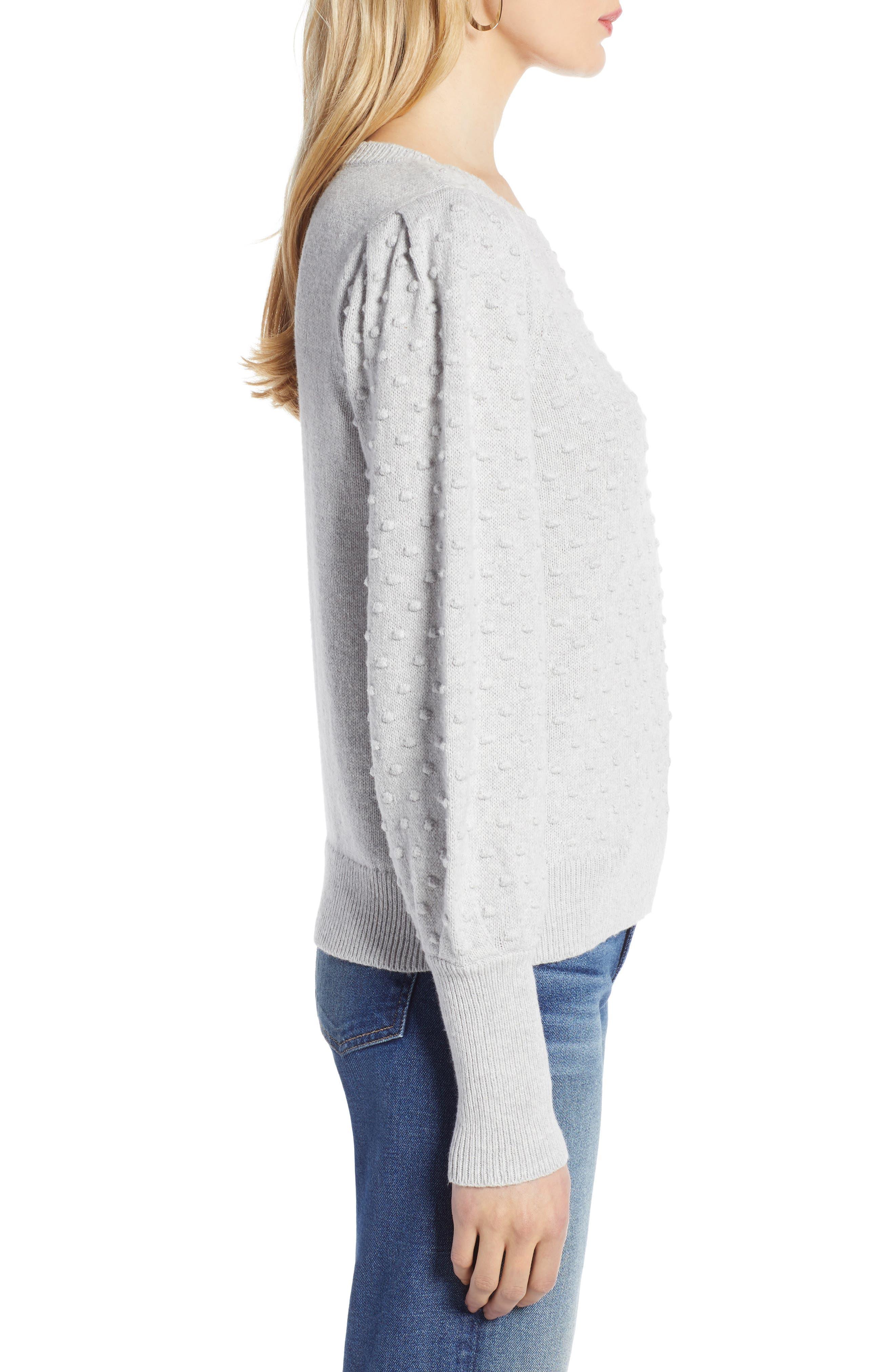 Bobble Stitch Sweater,                             Alternate thumbnail 3, color,                             GREY LIGHT HEATHER