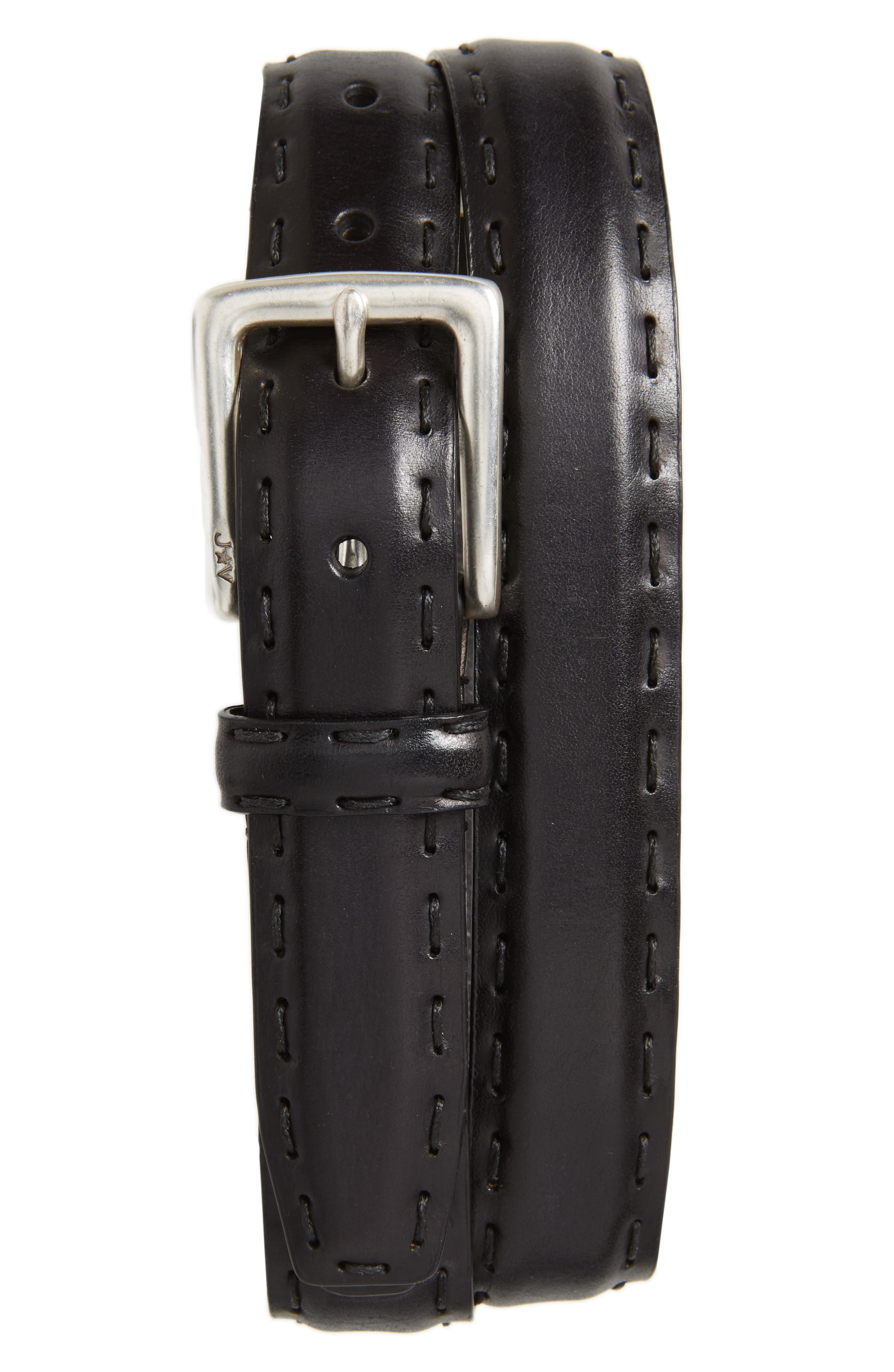 Pickstitch Feather Edge Leather Belt,                             Main thumbnail 1, color,                             BLACK