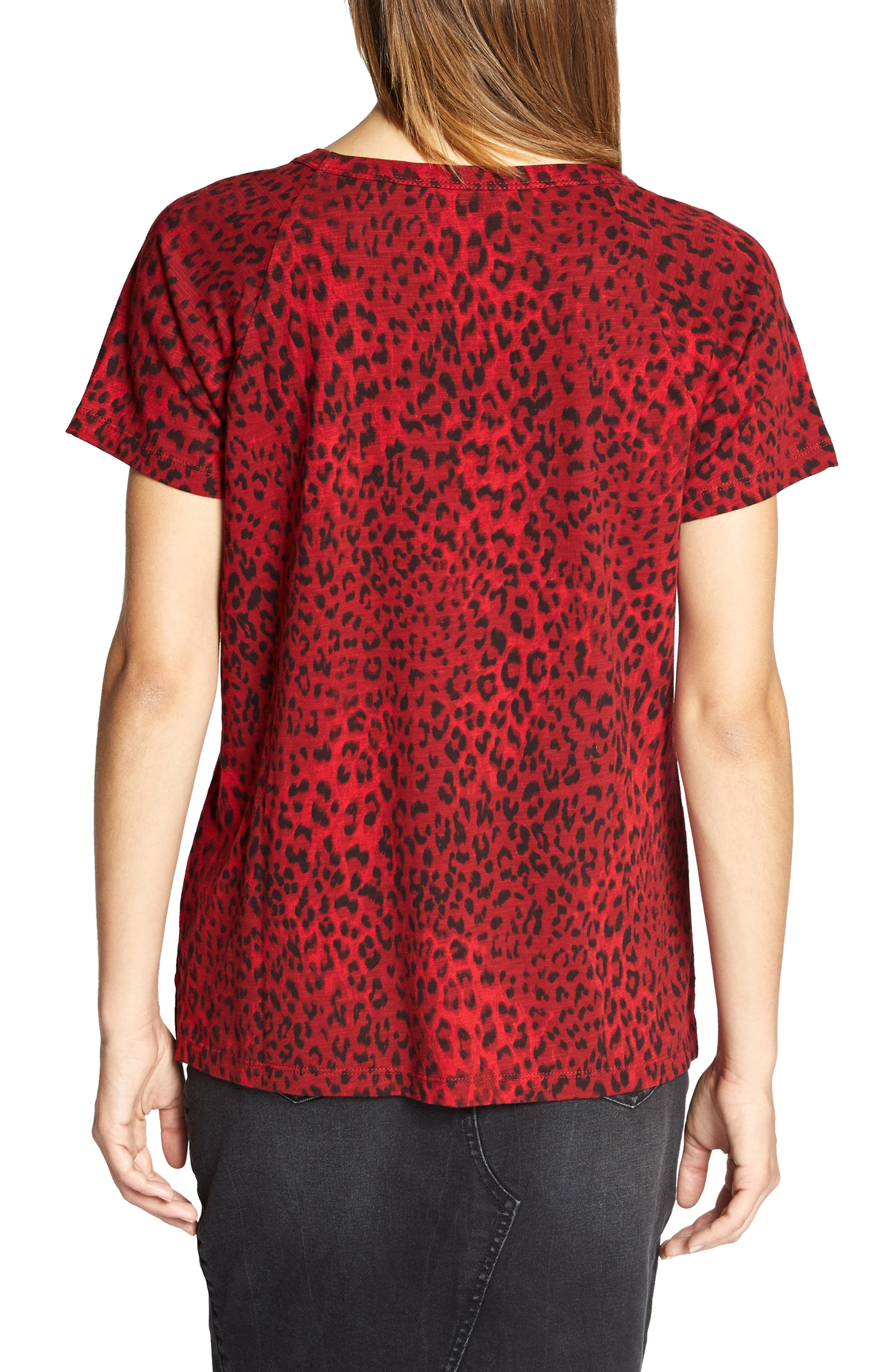 Animal Print Tee,                             Alternate thumbnail 2, color,                             RED LEOPARD