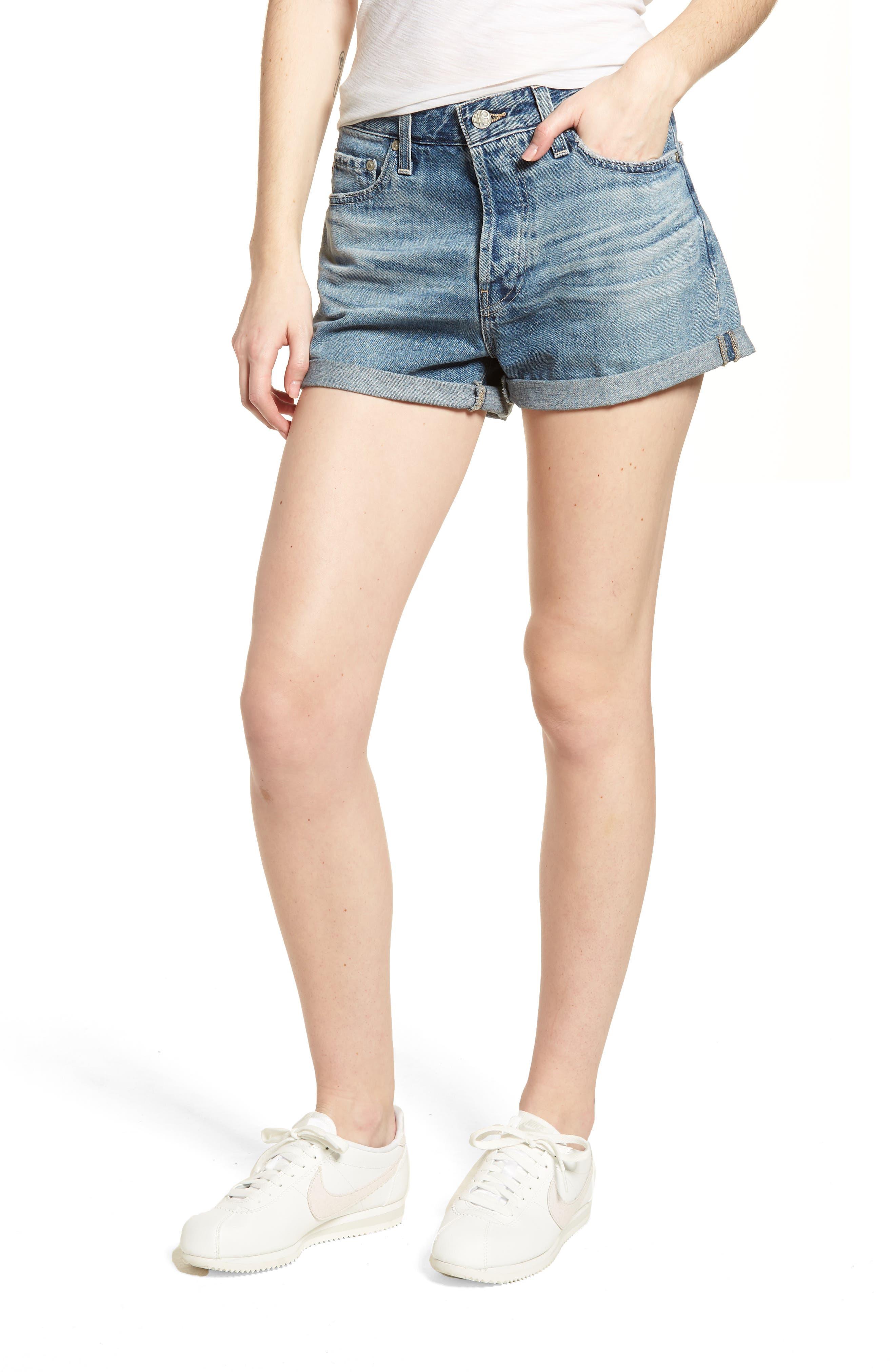 Alex Cuff Denim Boyfriend Shorts,                         Main,                         color,