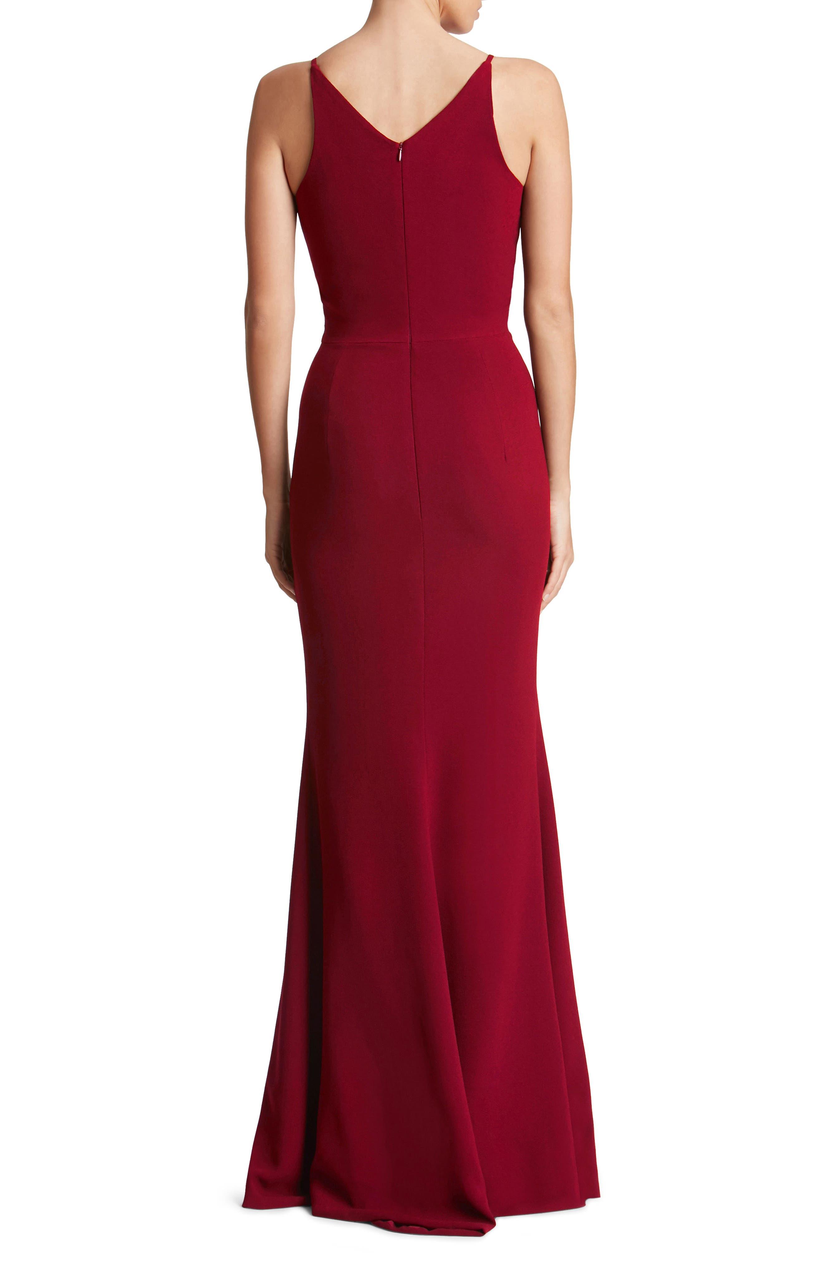 Iris Slit Crepe Gown,                             Alternate thumbnail 2, color,                             619