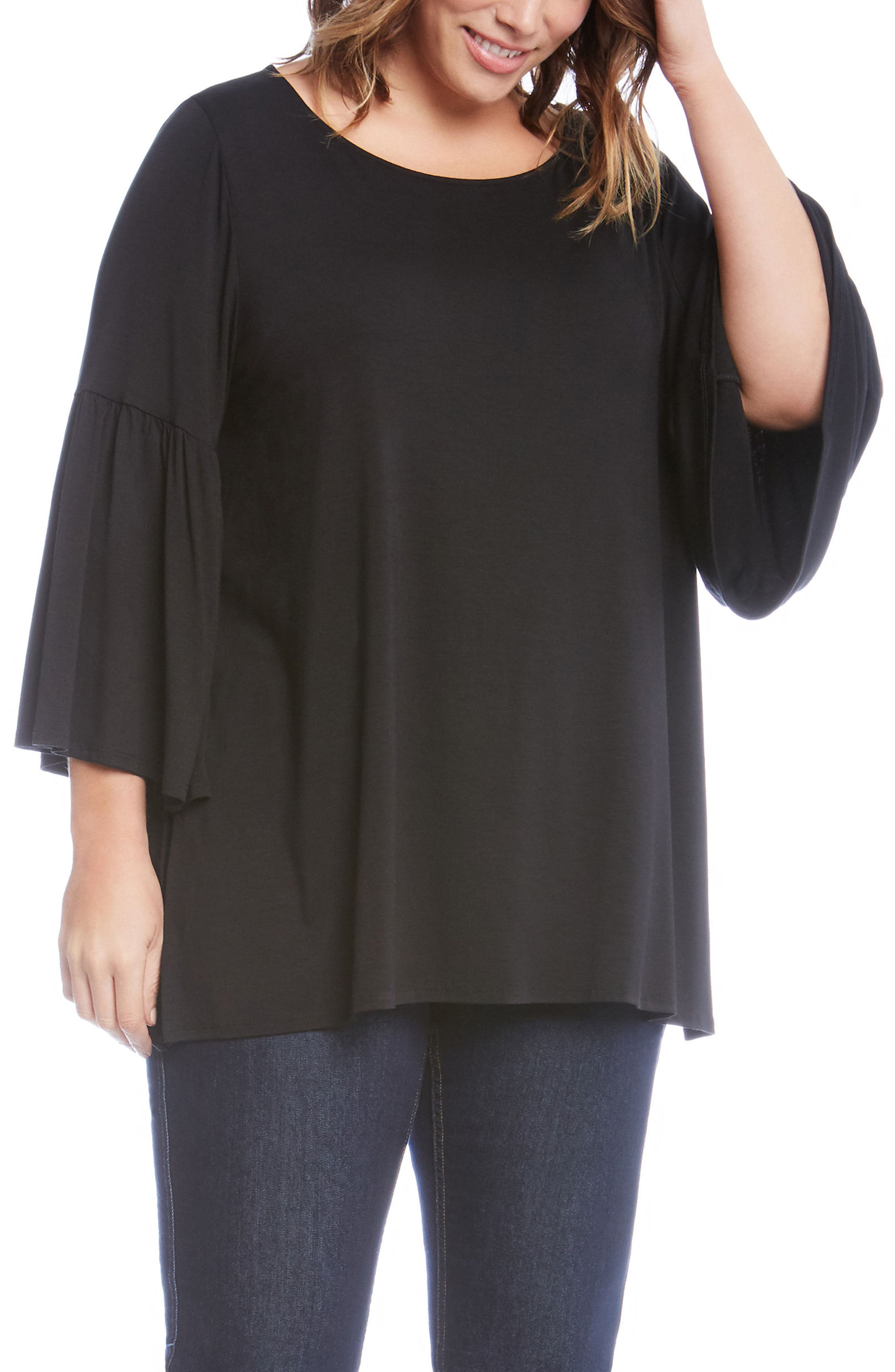 Bell Sleeve Side Slit Top,                             Main thumbnail 1, color,