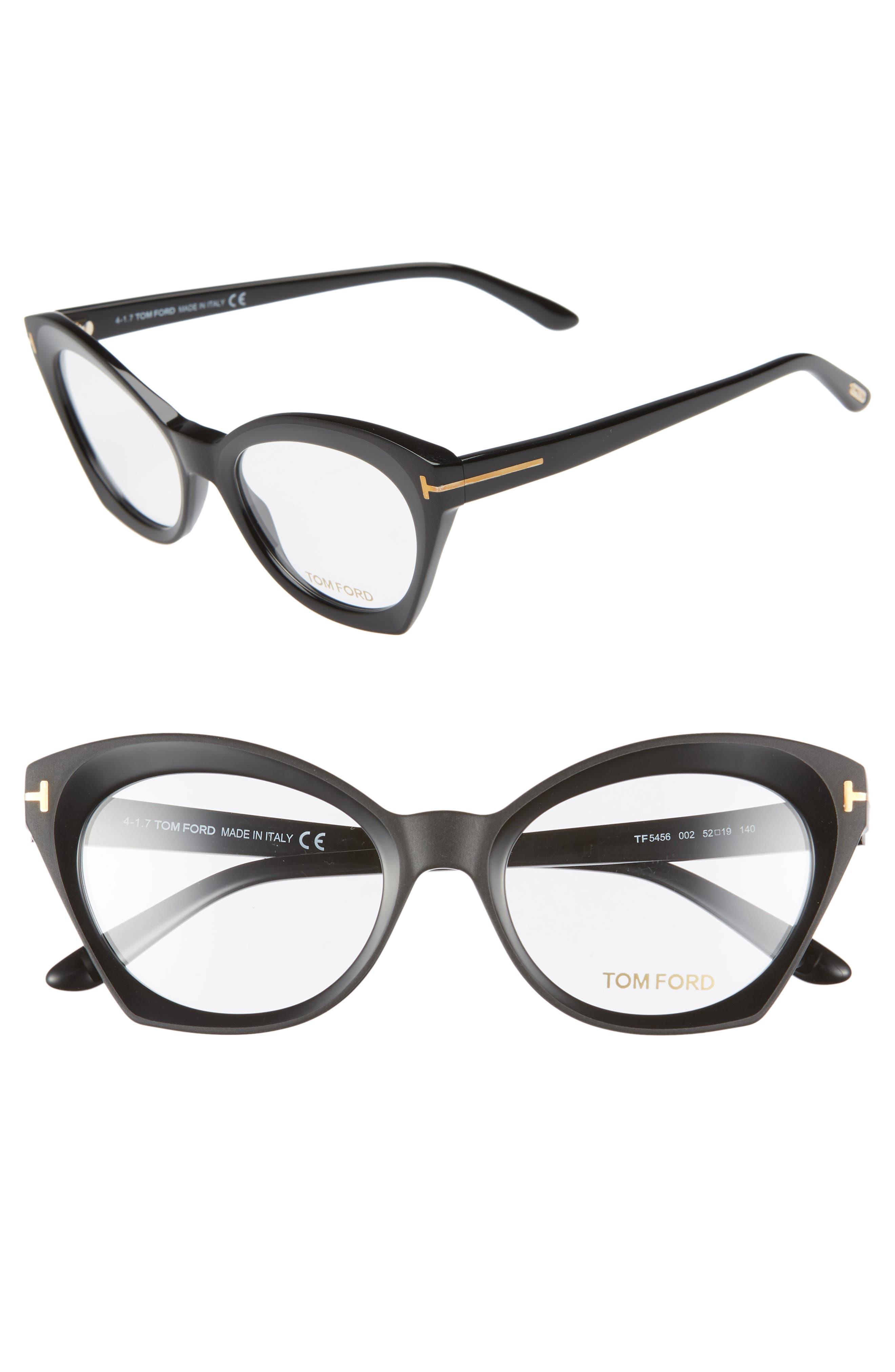 52mm Optical Glasses,                         Main,                         color, SHINY BLACK/ SHINY ROSE GOLD