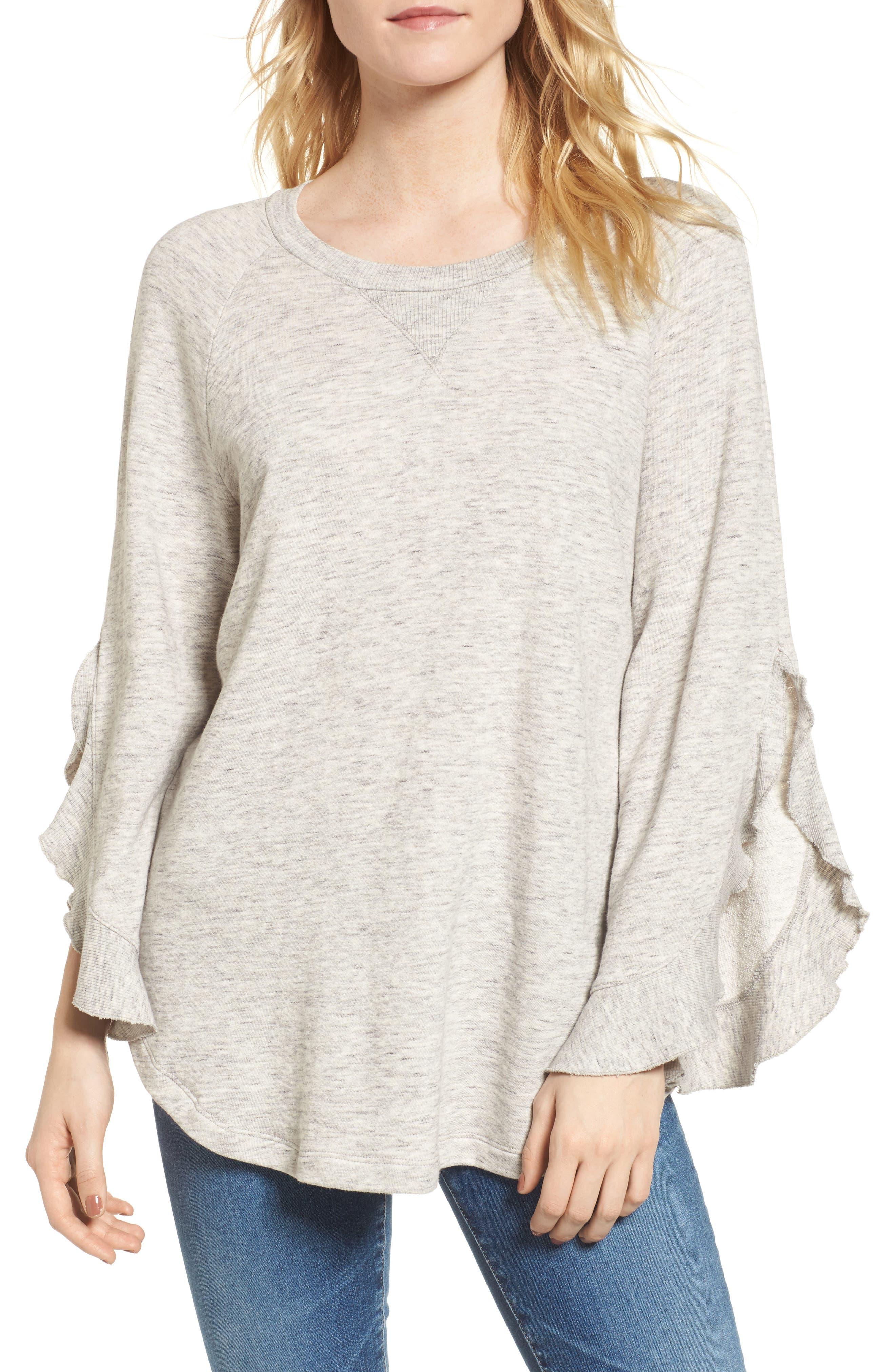Ruffle Split Sleeve Cotton Sweatshirt,                             Main thumbnail 1, color,