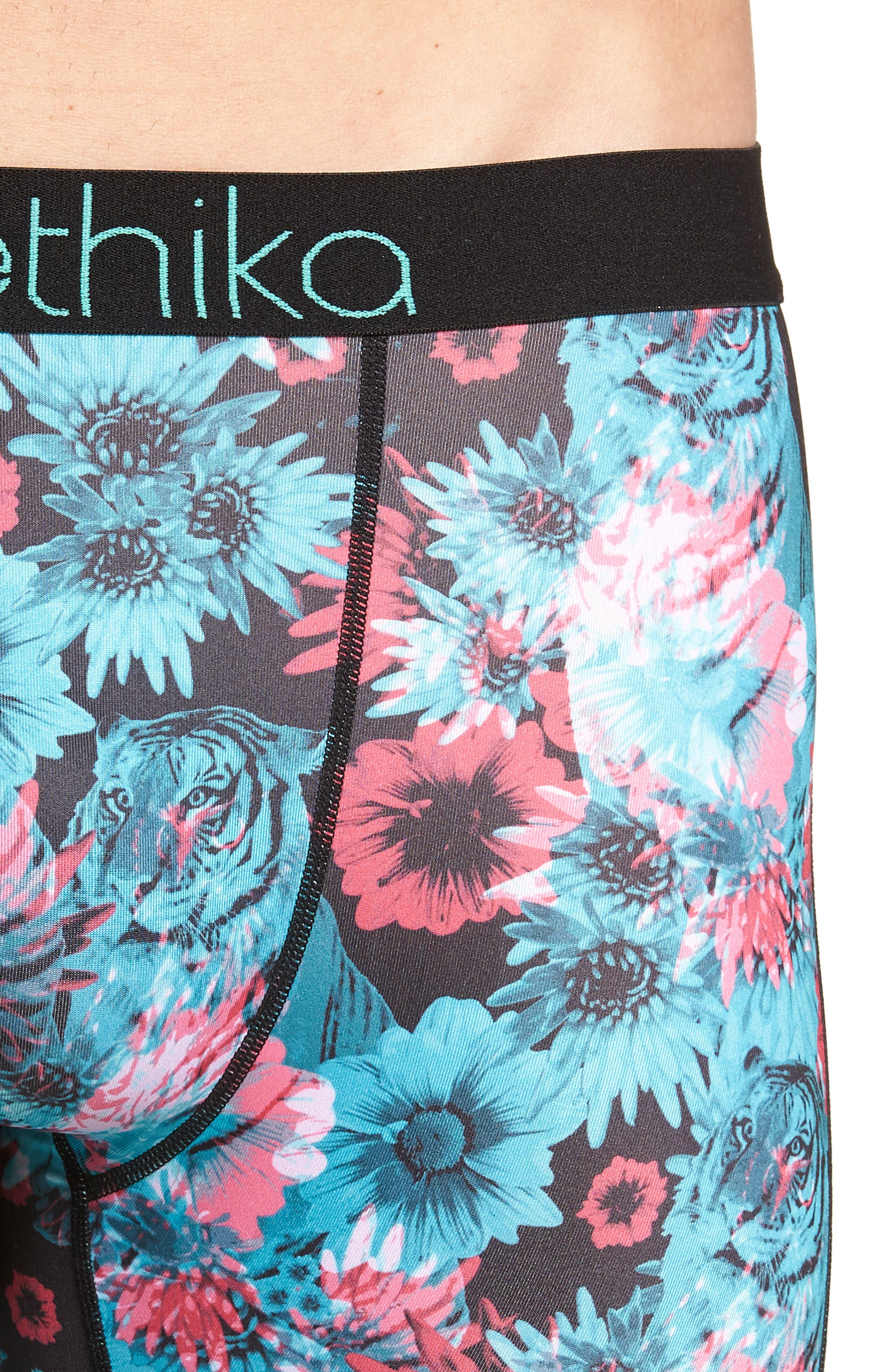 Tiger Lily Stretch Boxer Briefs,                             Alternate thumbnail 4, color,                             BLACK/ TEAL/ PINK