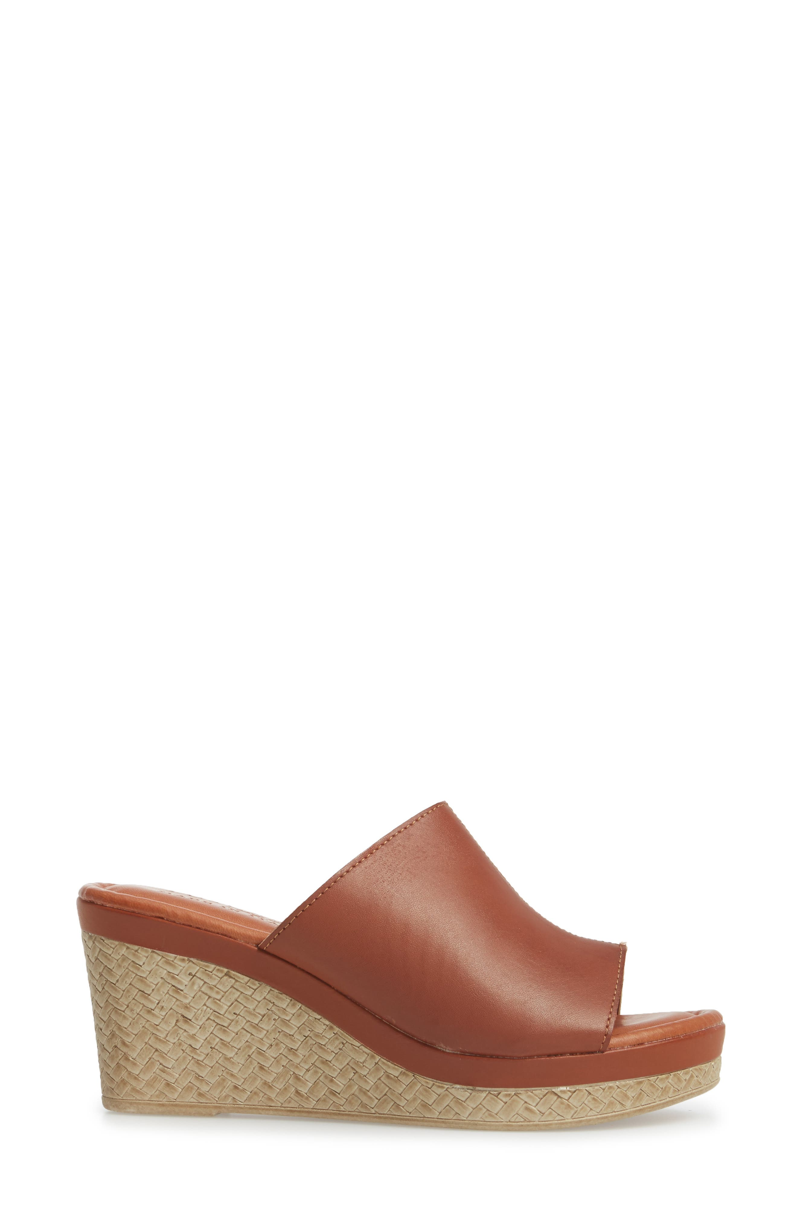 by Easy Street<sup>®</sup> Octavia Espadrille Wedge,                             Alternate thumbnail 3, color,                             COGNAC FAUX LEATHER
