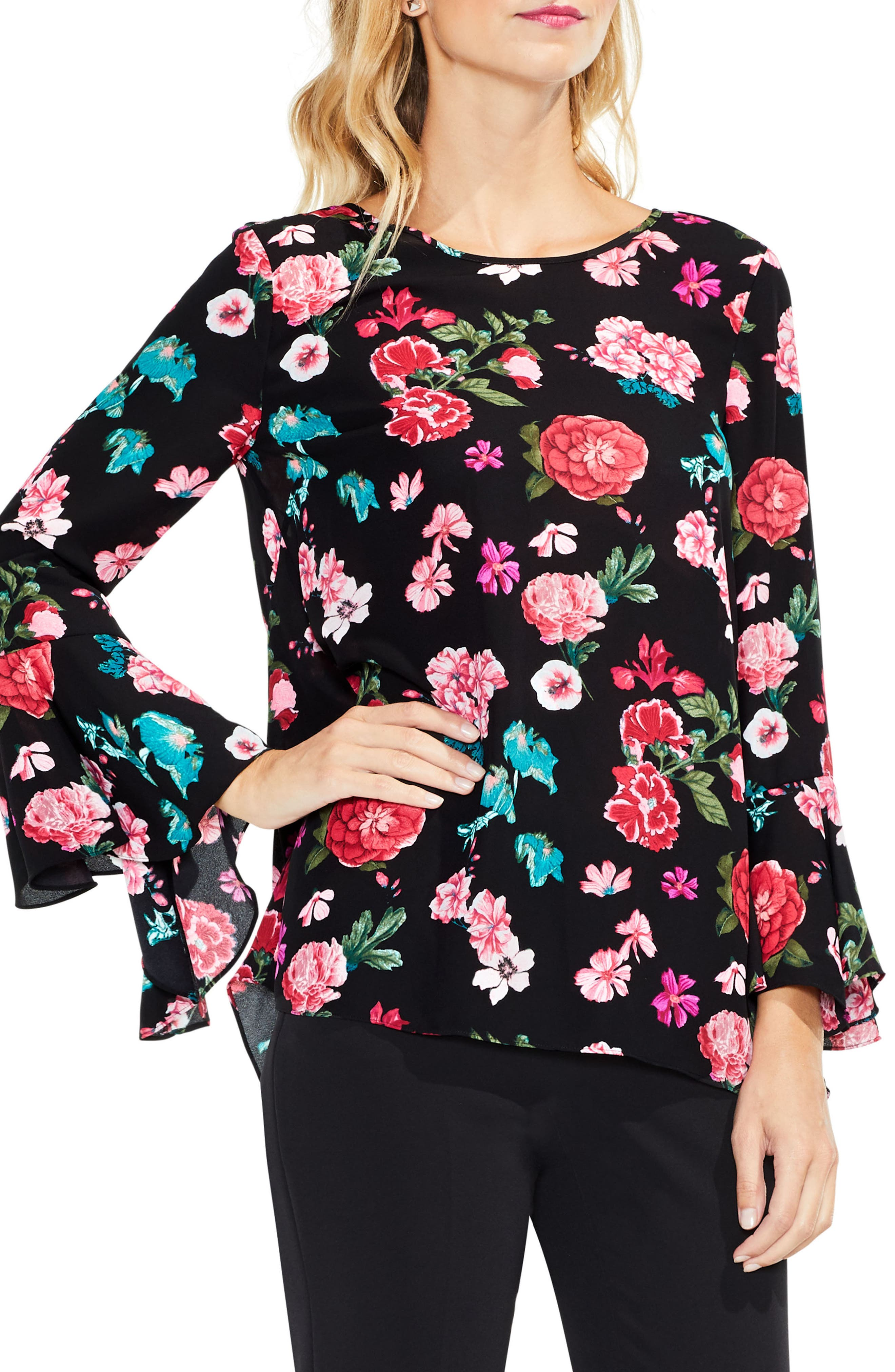Floral Heirloom Bell Sleeve Top,                             Main thumbnail 1, color,                             006