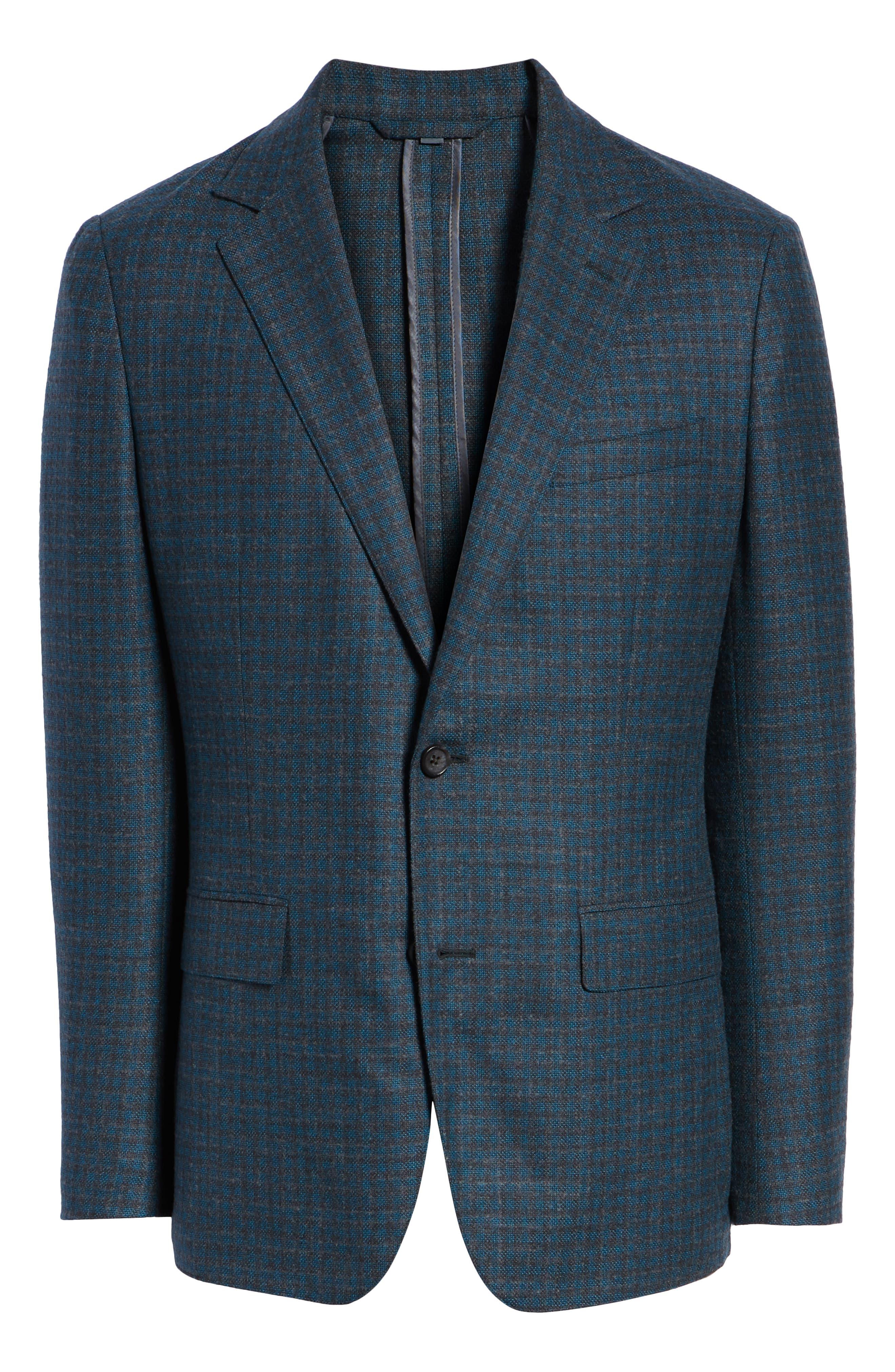 Jetsetter Slim Fit Unconstructed Blazer,                             Alternate thumbnail 5, color,                             TEAL AND GREY PLAID