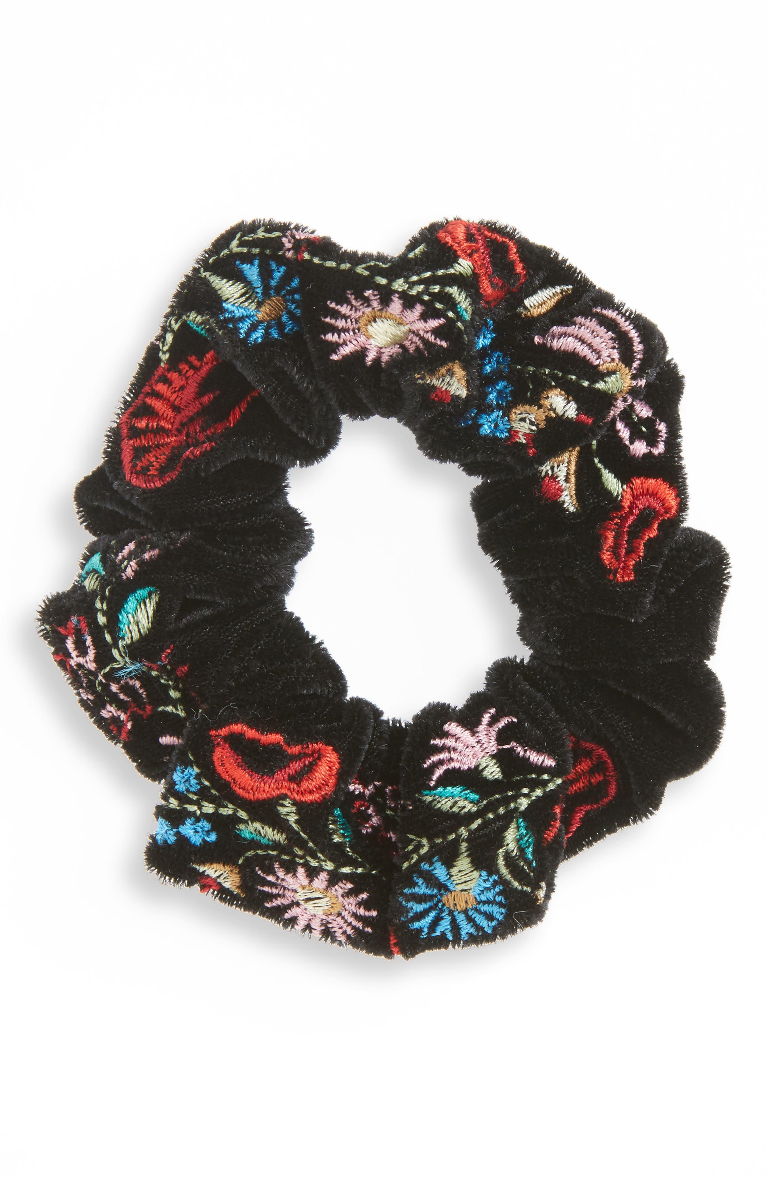 Embroidered Velvet Scrunchie, Main, color, 002