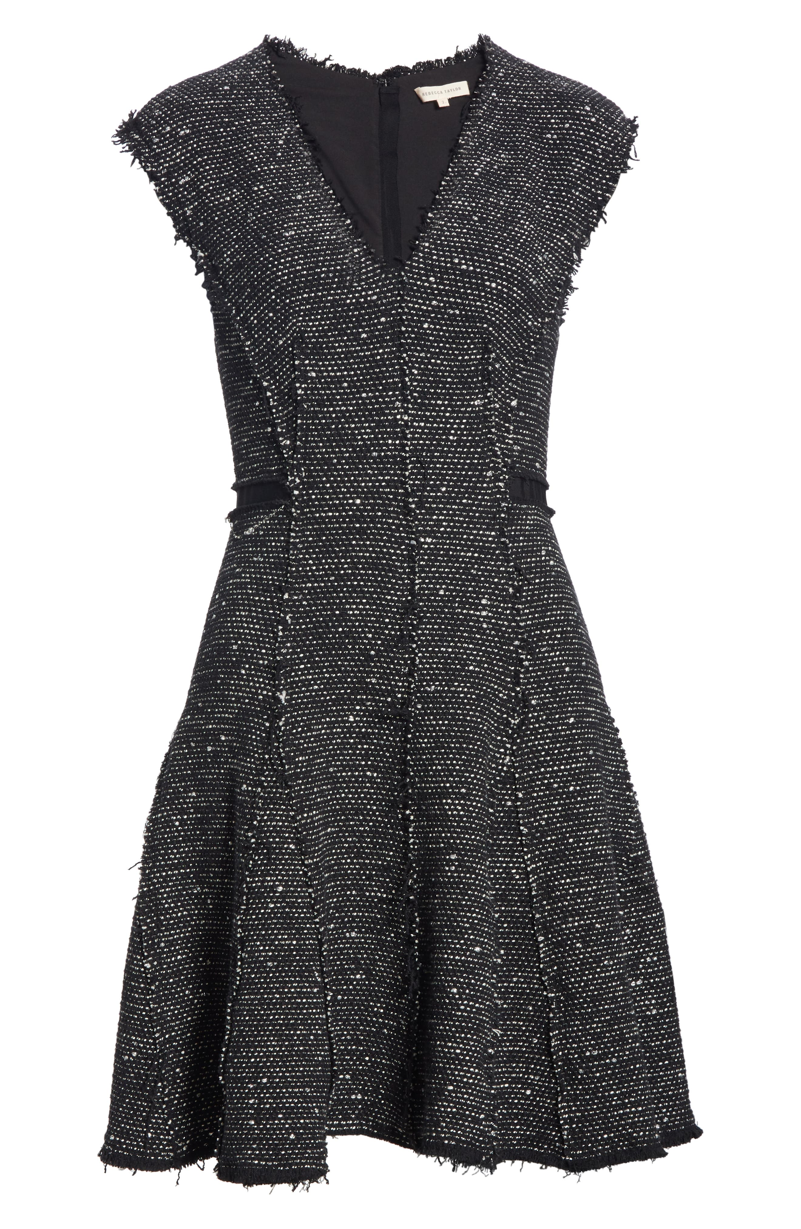 Sparkle Stretch Dress,                             Alternate thumbnail 6, color,                             BLACK