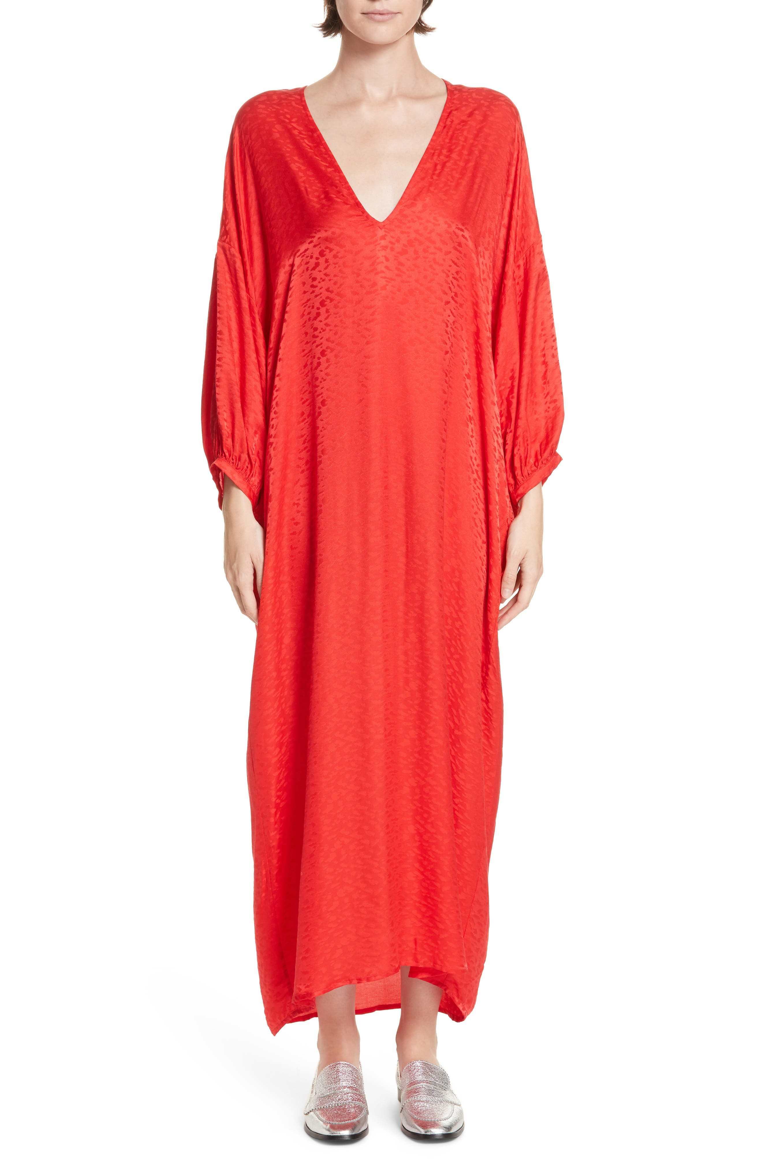 ROSEANNA Season Jacquard Maxi Dress in Rouge
