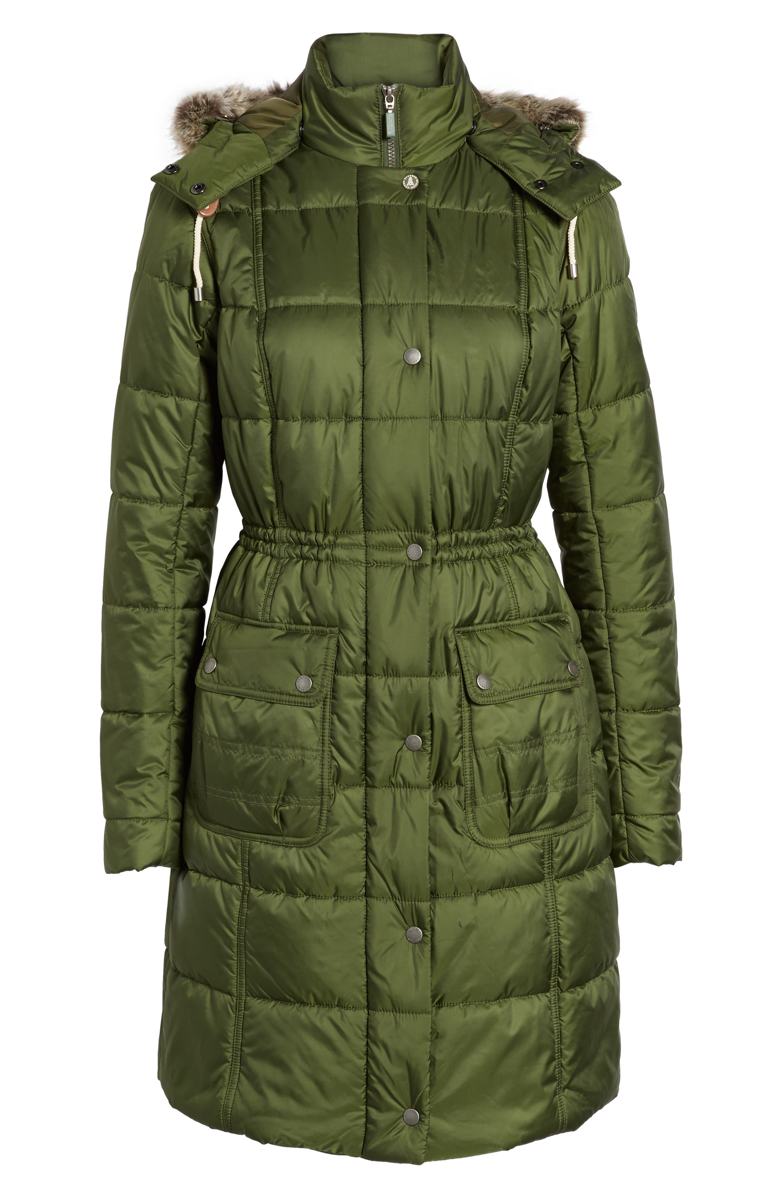Winterton Water Resistant Hooded Quilted Jacket with Faux Fur Trim,                             Alternate thumbnail 9, color,