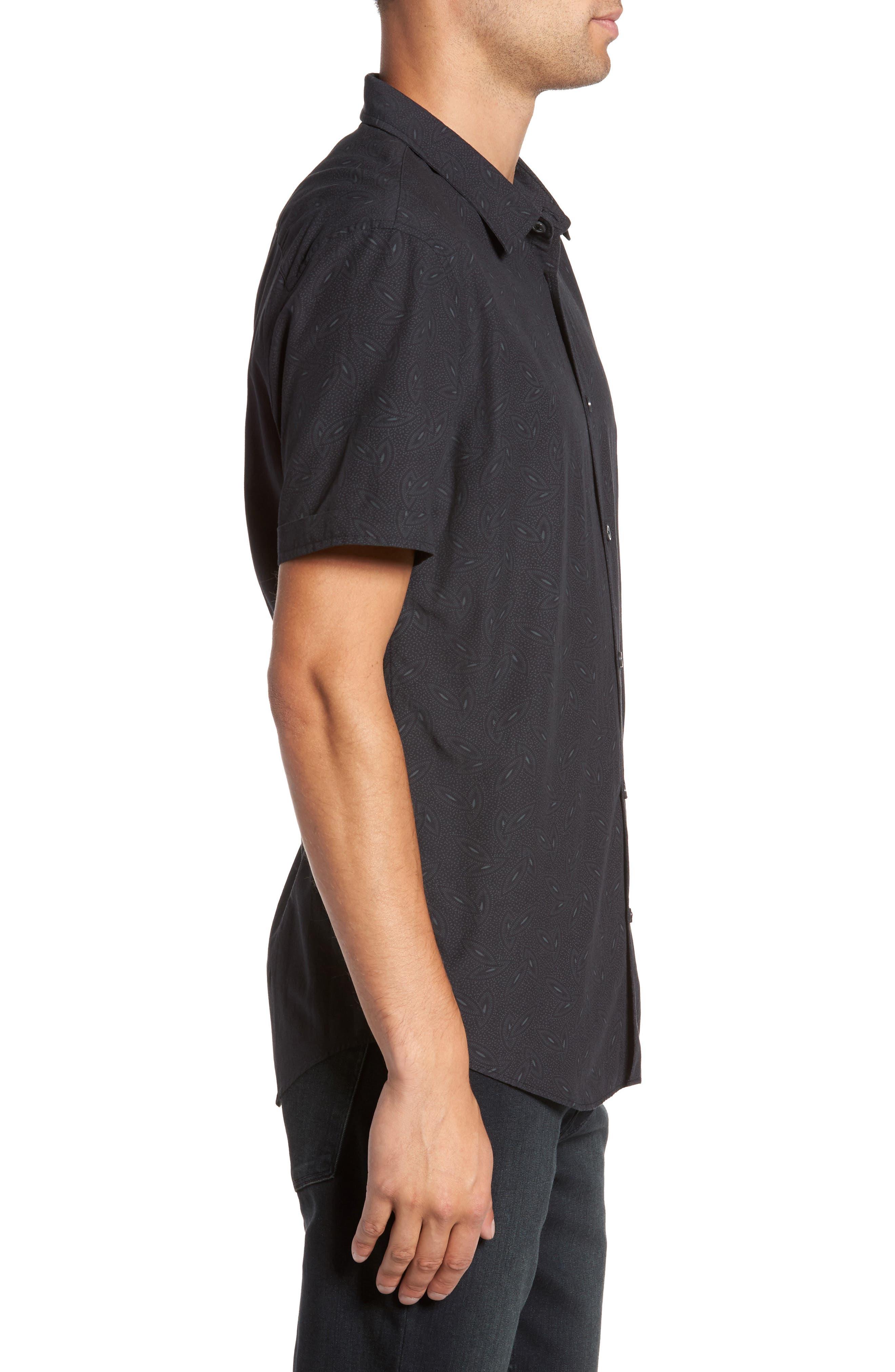 Mayfield Slim Fit Short Sleeve Sport Shirt,                             Alternate thumbnail 3, color,                             MIDNIGHT
