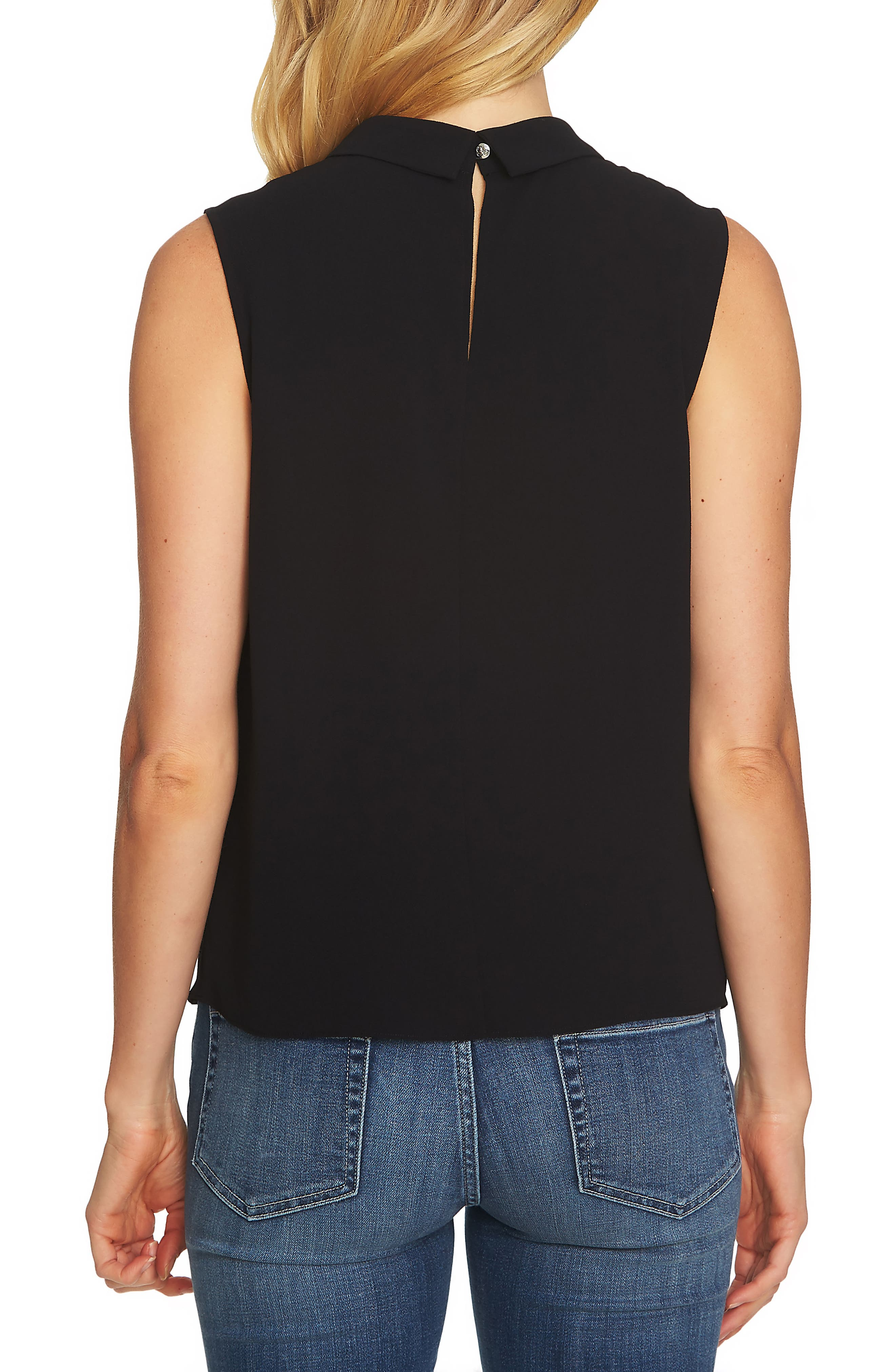 Collared Pleat Front Blouse,                             Alternate thumbnail 2, color,                             RICH BLACK