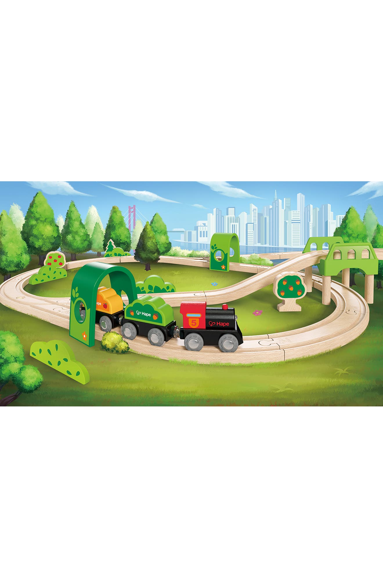 Forest Railway Wooden Train Set,                             Alternate thumbnail 6, color,                             600