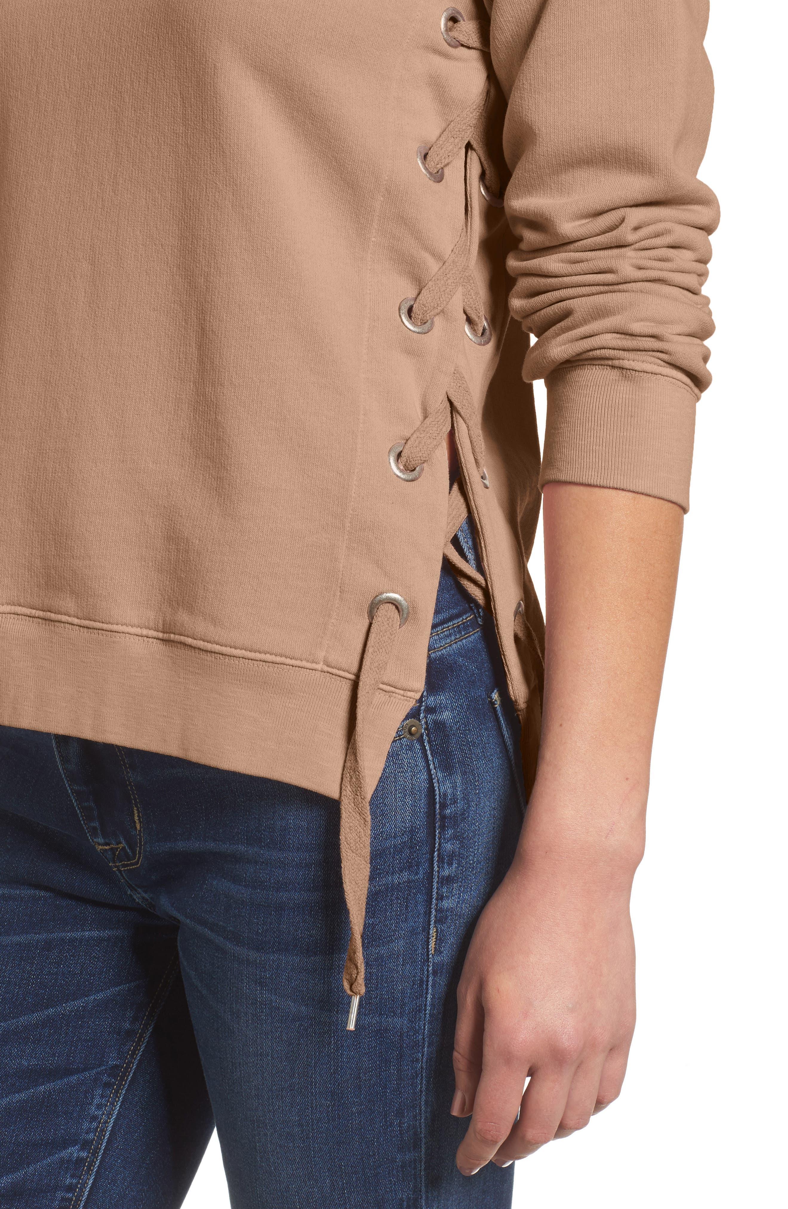 Side-Lace Sweatshirt,                             Alternate thumbnail 4, color,                             200