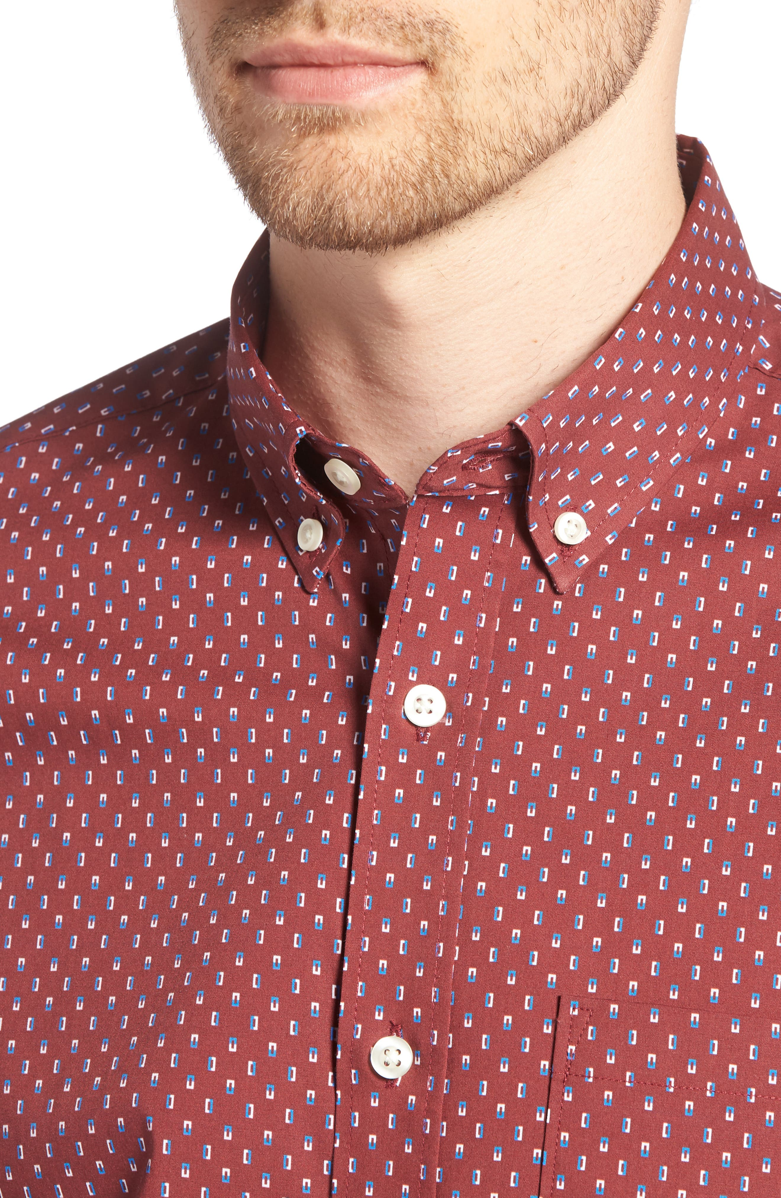 Trim Fit Box Print Sport Shirt,                             Alternate thumbnail 4, color,