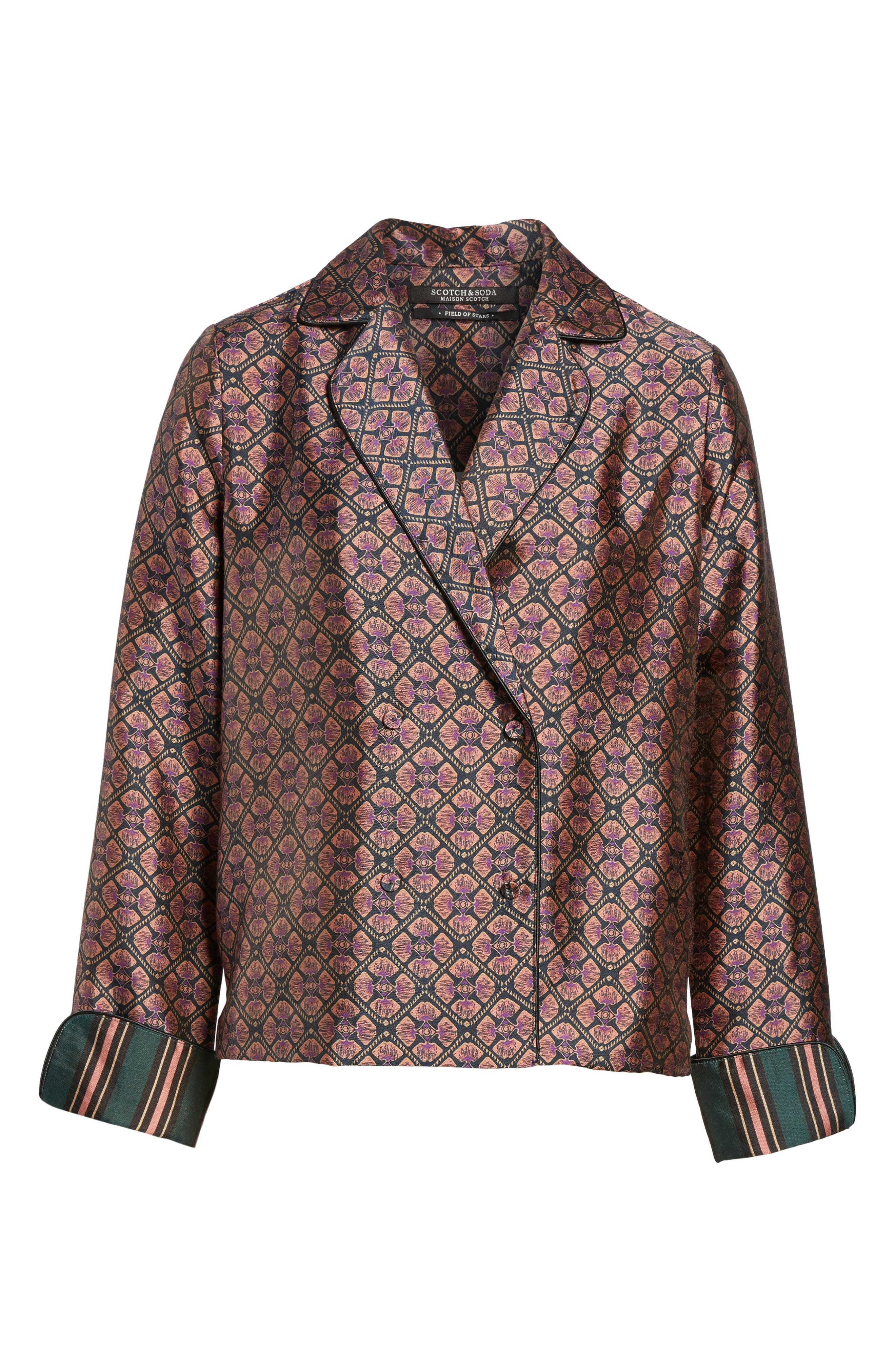Double Breasted Print Pajama Blazer,                             Alternate thumbnail 6, color,                             651