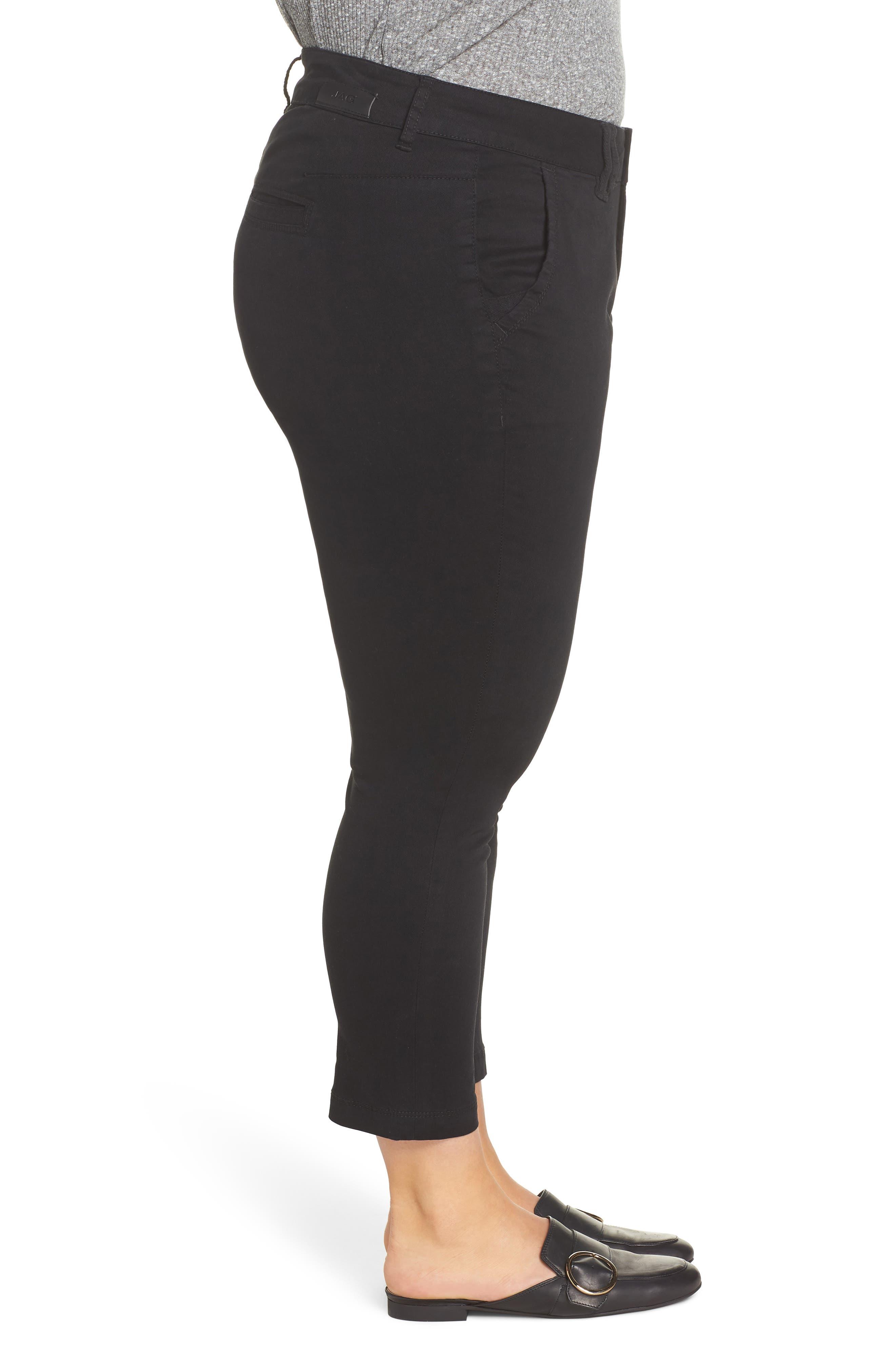 Flora Stretch Cotton Crop Pants,                             Alternate thumbnail 3, color,                             BLACK