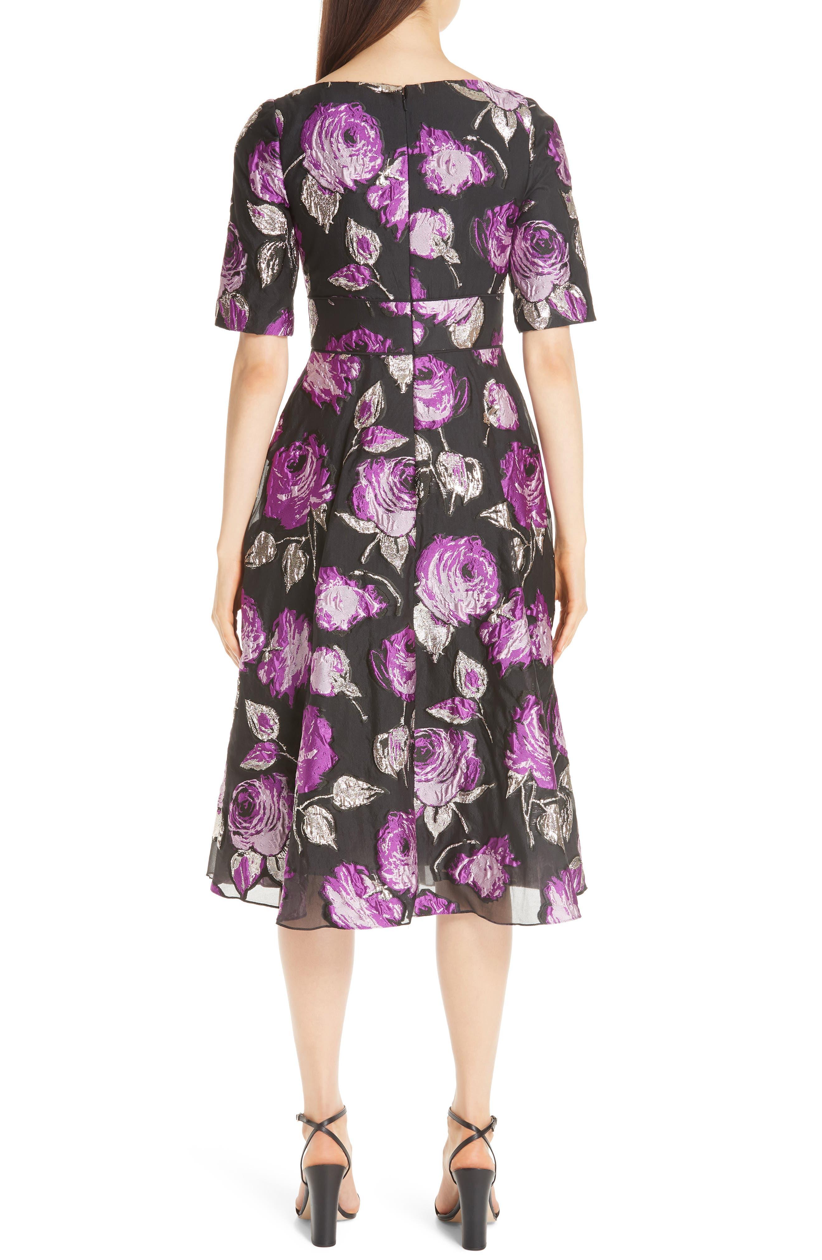 Metallic Floral Fil Coupé Fit & Flare Dress,                             Alternate thumbnail 2, color,                             LAVENDER/ BLACK