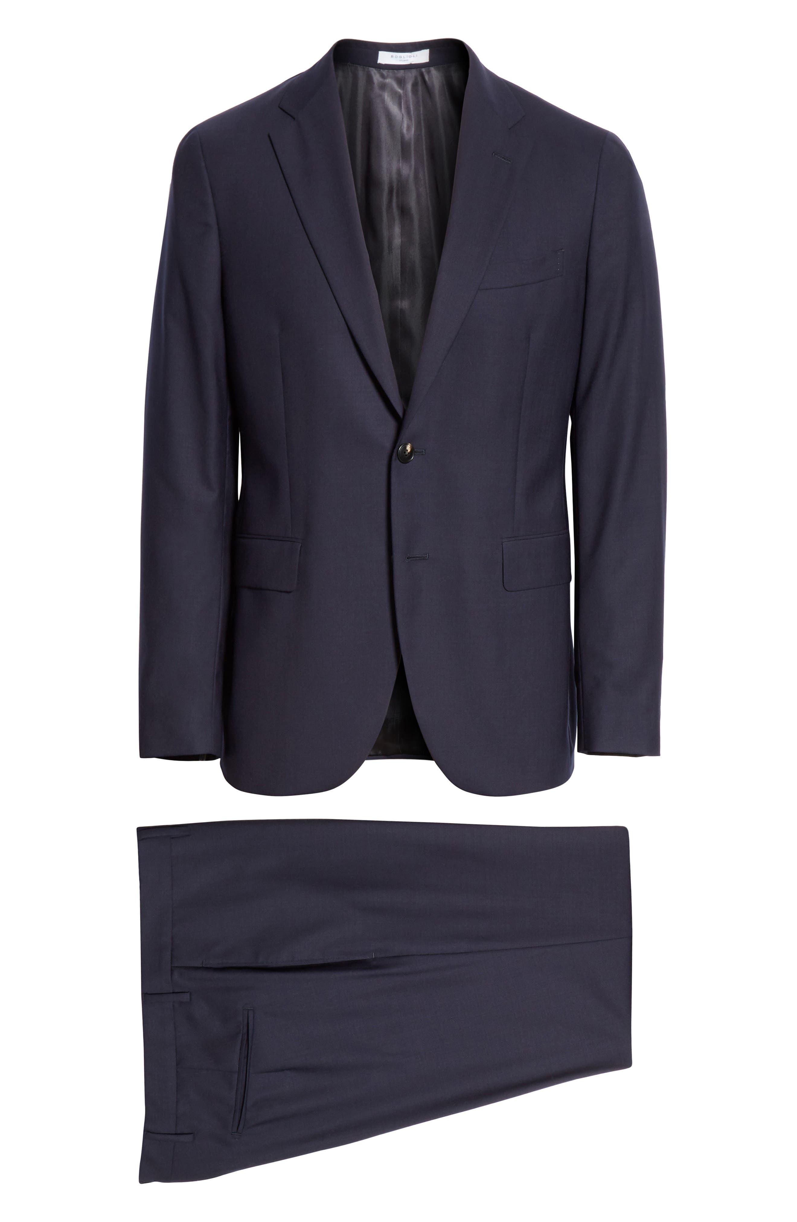 Milano Trim Fit Solid Wool Suit,                             Alternate thumbnail 8, color,                             NAVY