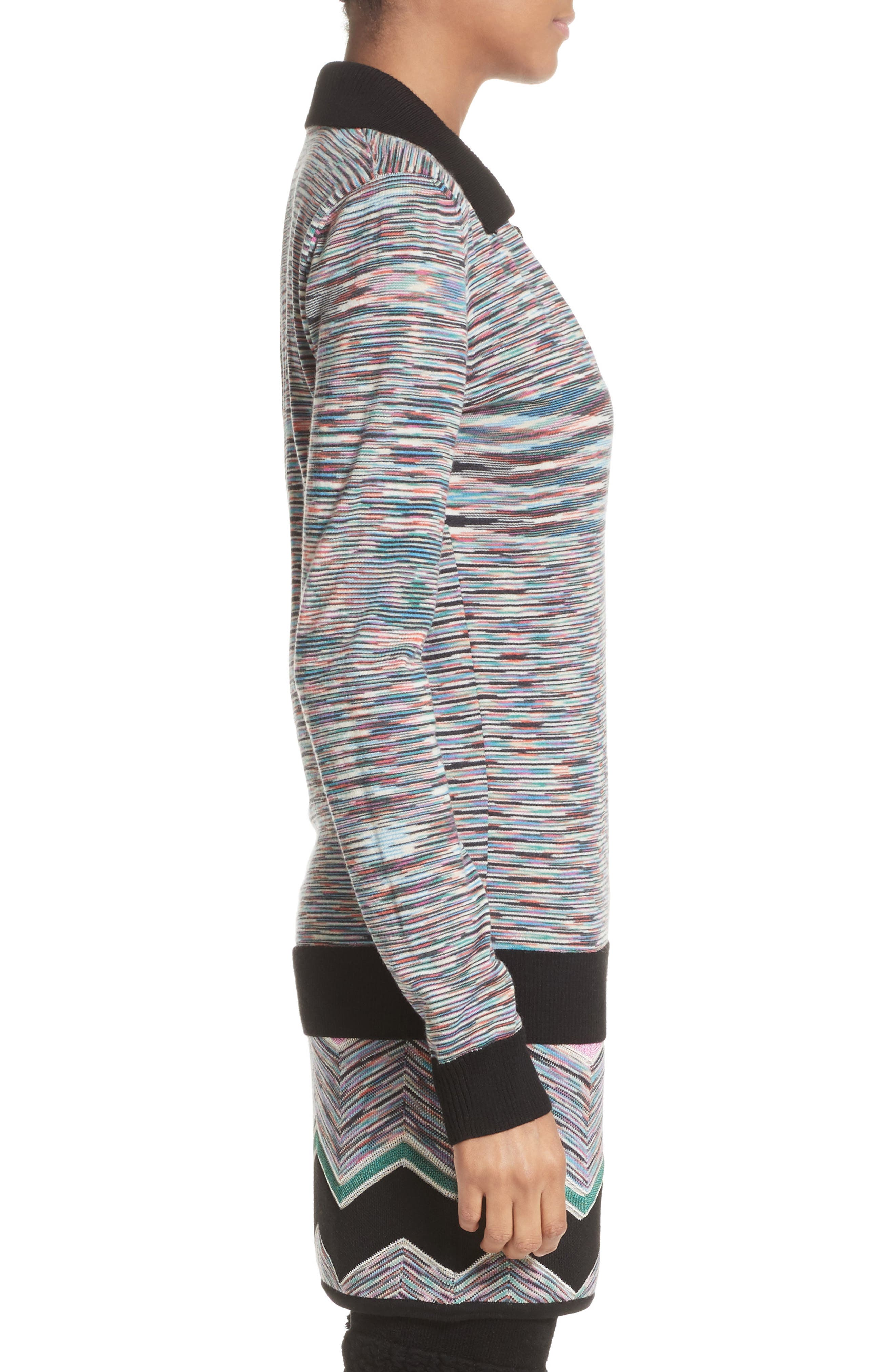 Space Dye Wool Blend Polo Sweater,                             Alternate thumbnail 3, color,                             001
